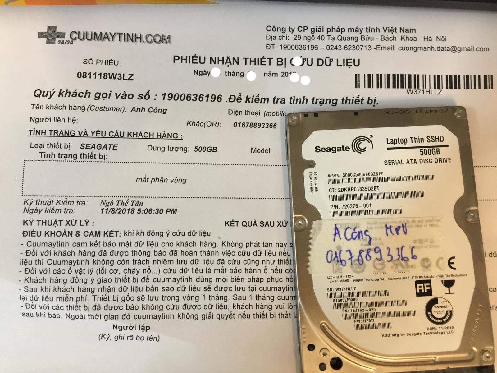 Khôi phục dữ liệu ổ cứng Seagate 500GB mất phân vùng 08/01/2019 - cuumaytinh