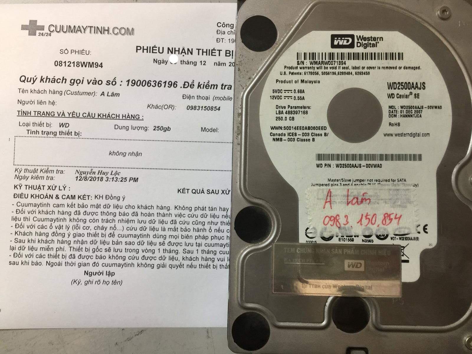 Phục hồi dữ liệu ổ cứng Western 250GB không nhận 27/12/2018 - cuumaytinh