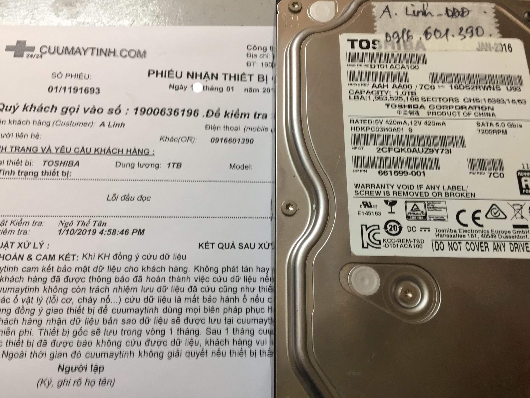 Phục hồi dữ liệu ổ cứng Toshiba 1TB lỗi đầu đọc 25/01/2019 - cuumaytinh