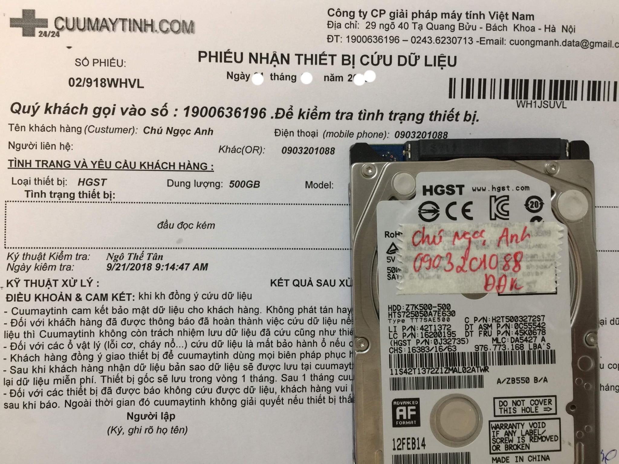 Cứu dữ liệu ổ cứng HGST 500GB đầu đọc kém 23/02/2019 - cuumaytinh