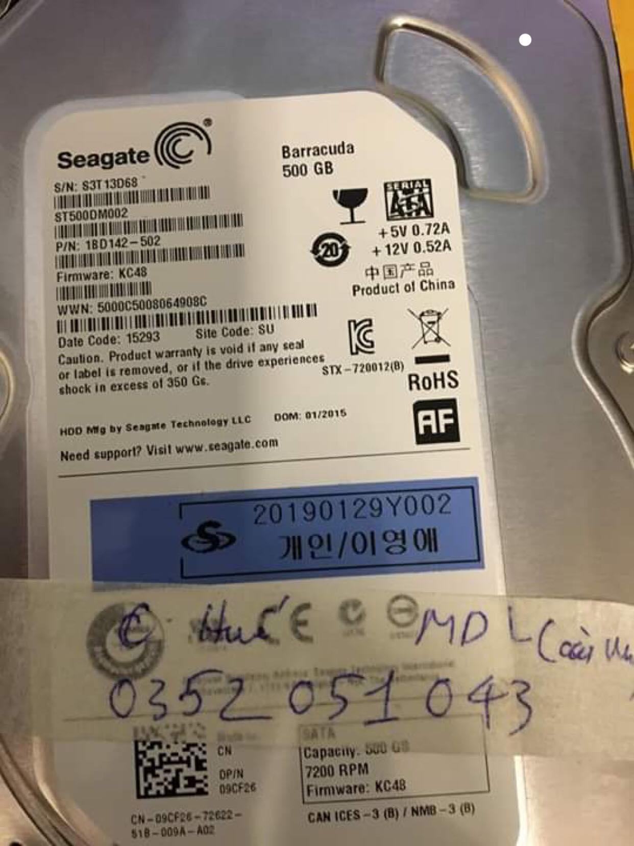 Cứu dữ liệu ổ cứng Seagate 500GB cài win mất dữ liệu 19/02/2019 - cuumaytinh