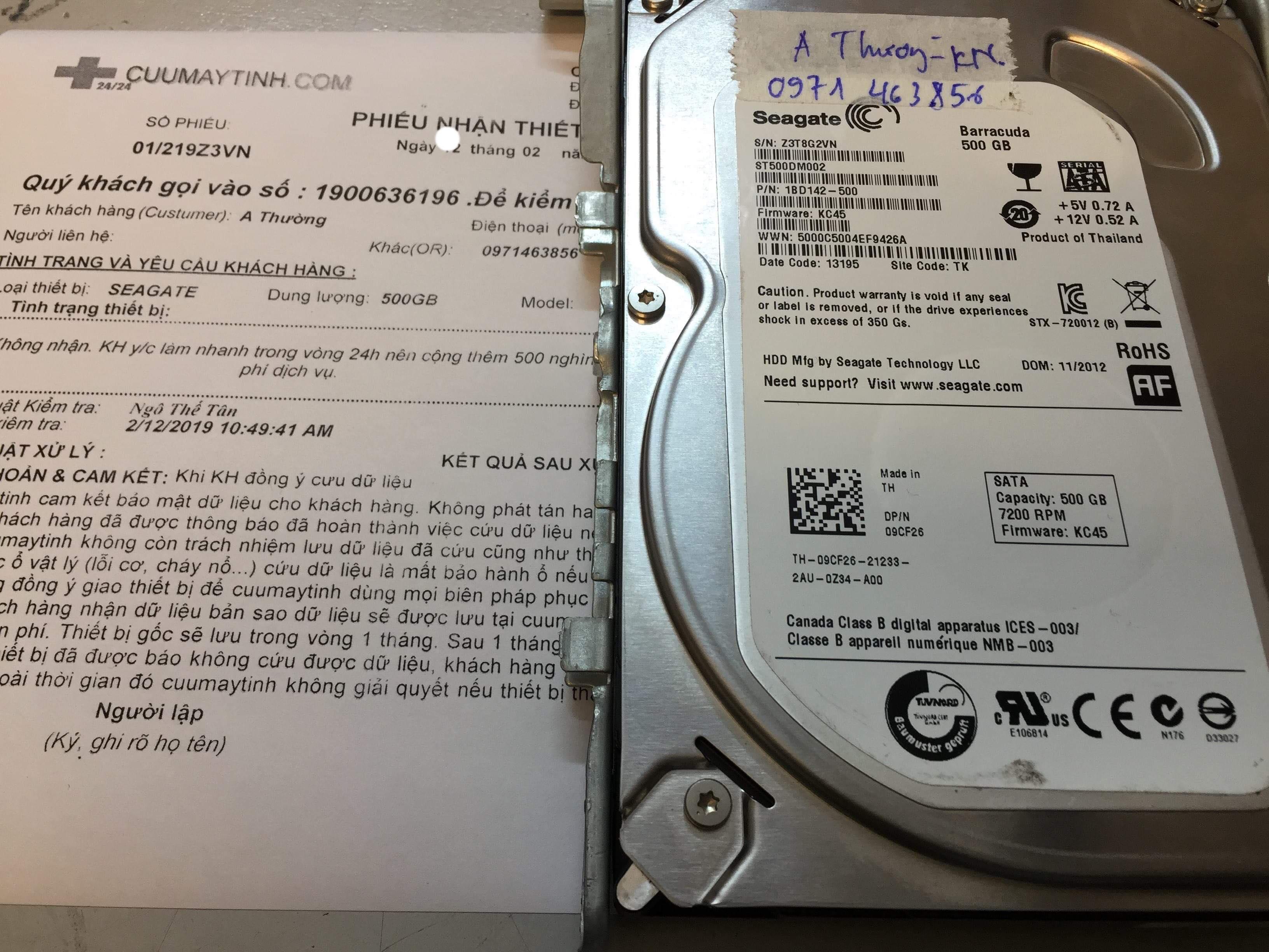 Cứu dữ liệu ổ cứng Seagate 500GB không nhận 11/02/2019 - cuumaytinh