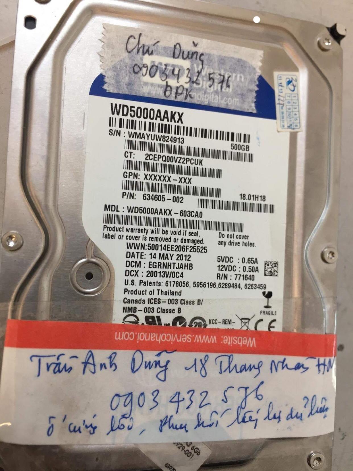 Cứu dữ liệu ổ cứng Western 500GB đầu đọc kém 21/02/2019 - cuumaytinh