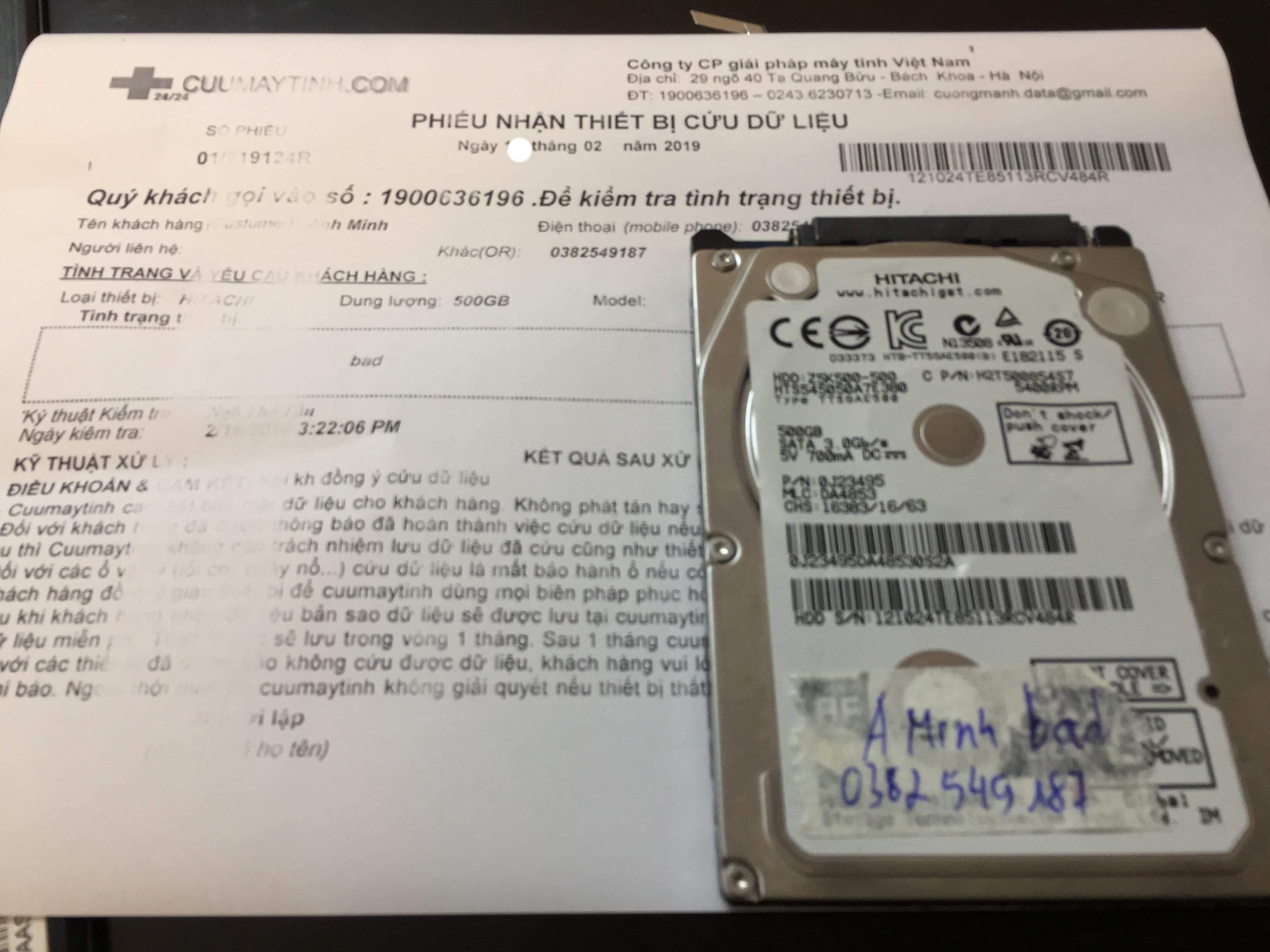 Khôi phục dữ liệu ổ cứng Hitachi 500GB bad 20/02/2019 - cuumaytinh