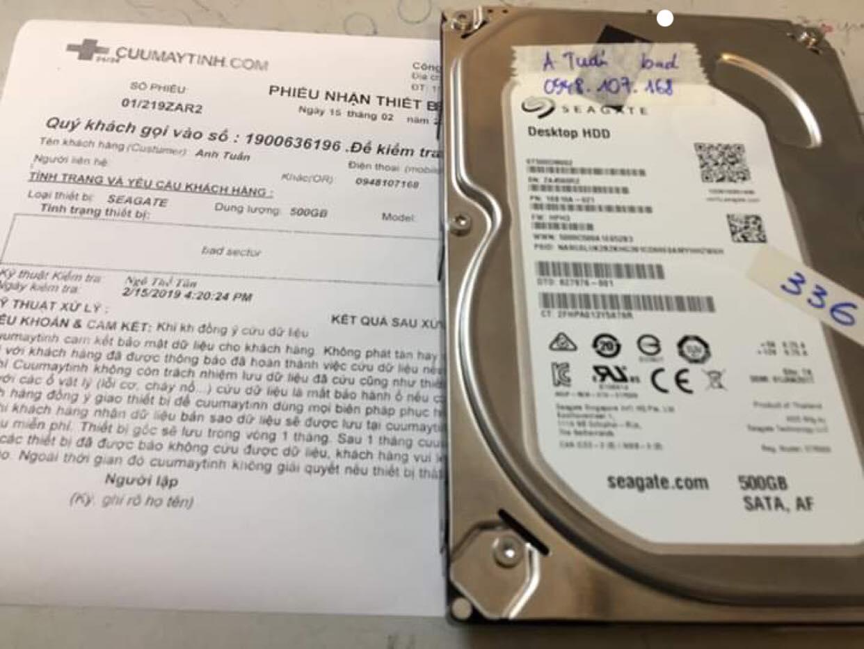 Khôi phục dữ liệu ổ cứng Seagate 500GB bad sector 15/02/2019 - cuumaytinh