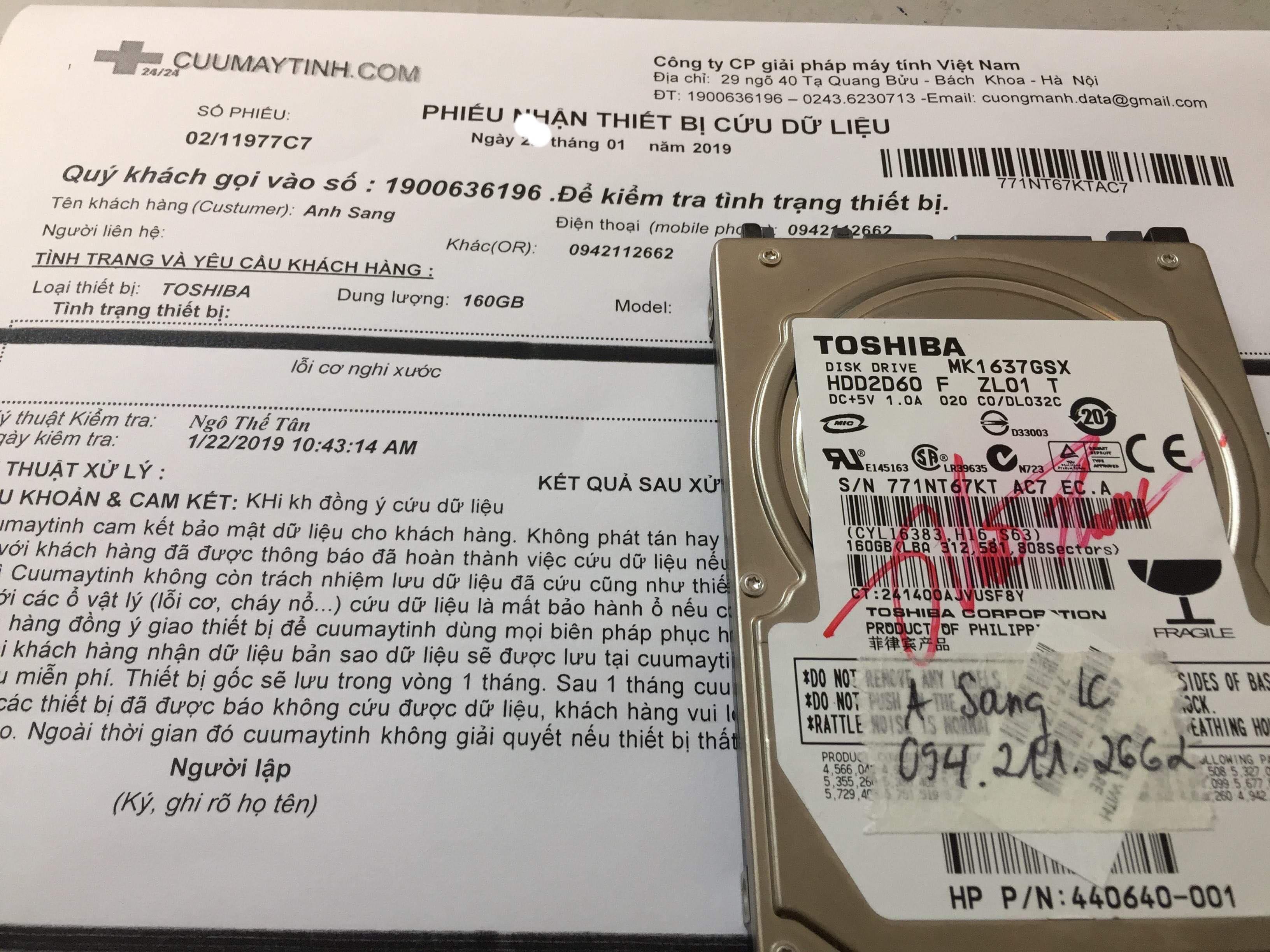 Khôi phục dữ liệu ổ cứng Toshiba 160GB lỗi cơ 30/01/2019 - cuumaytinh