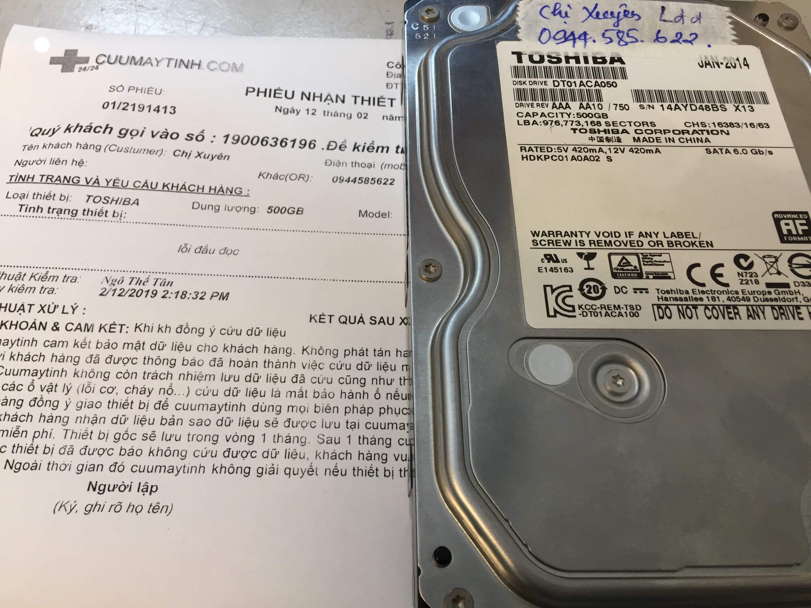 Khôi phục dữ liệu ổ cứng Toshiba 500GB lỗi đầu đọc 12/02/2019 - cuumaytinh