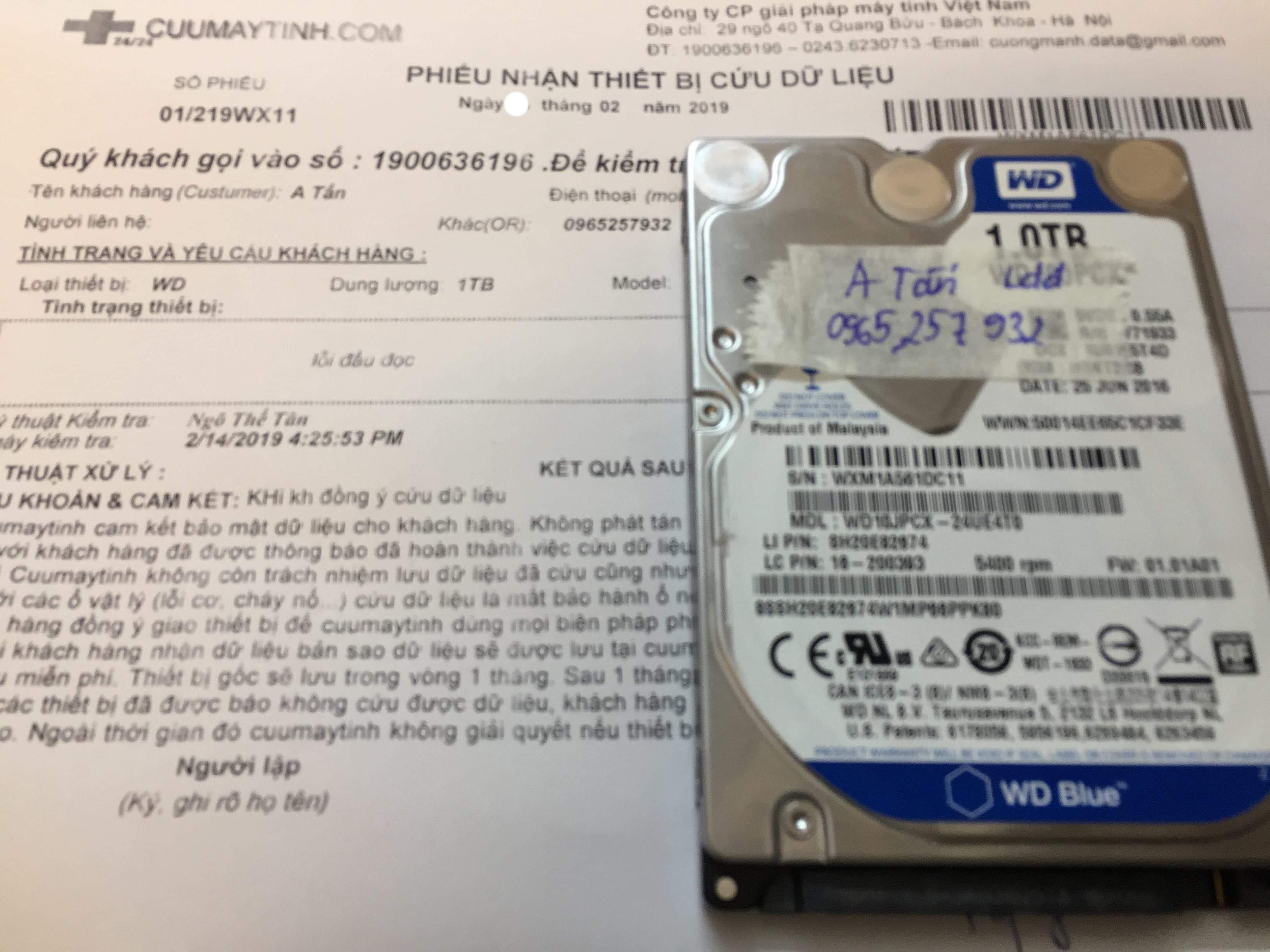 Khôi phục dữ liệu ổ cứng Western 1TB lỗi đầu đọc 22/02/2019 - cuumaytinh