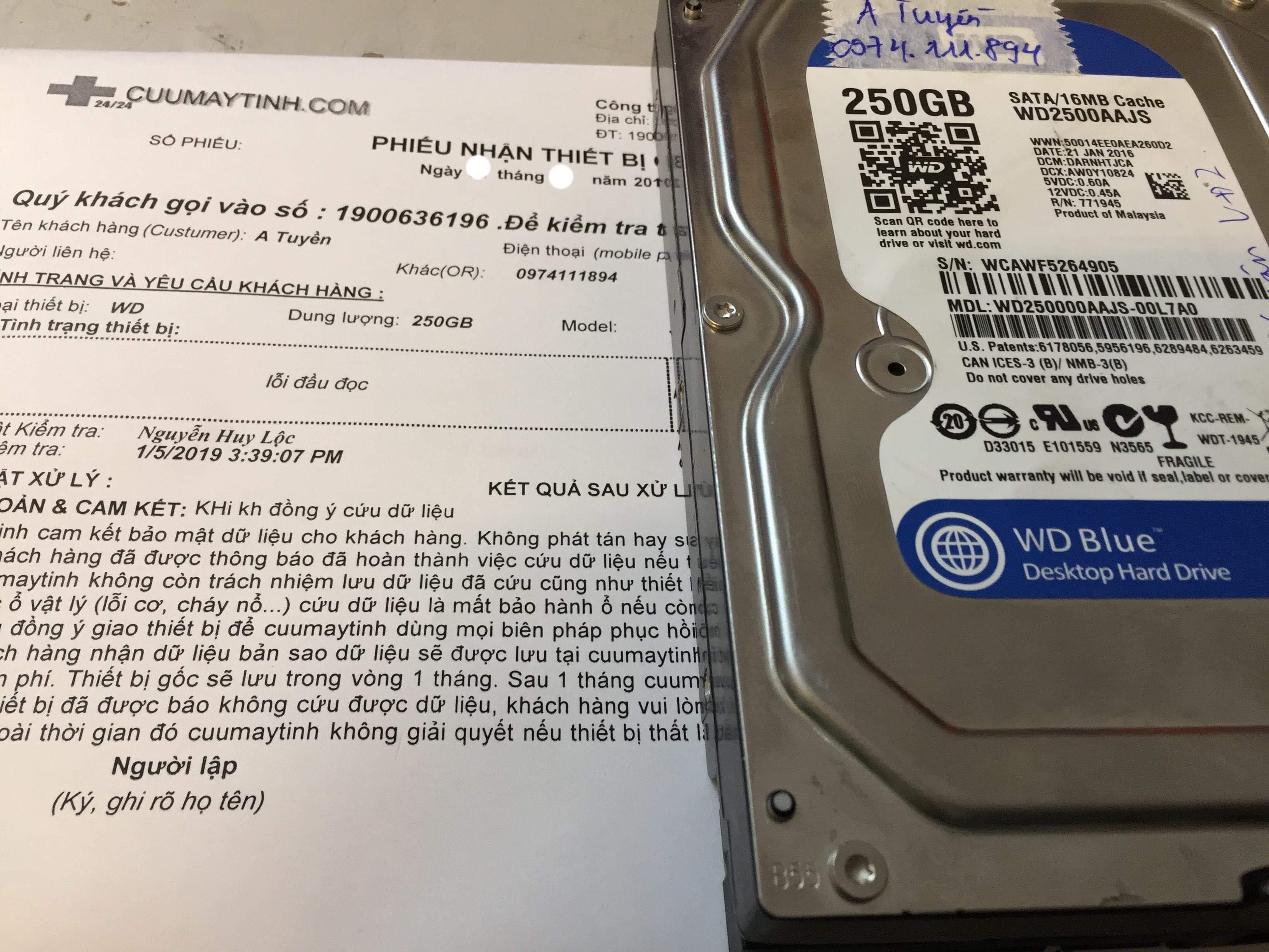 Khôi phục dữ liệu ổ cứng Western 250GB lỗi đầu đọc 11/02/2019 - cuumaytinh