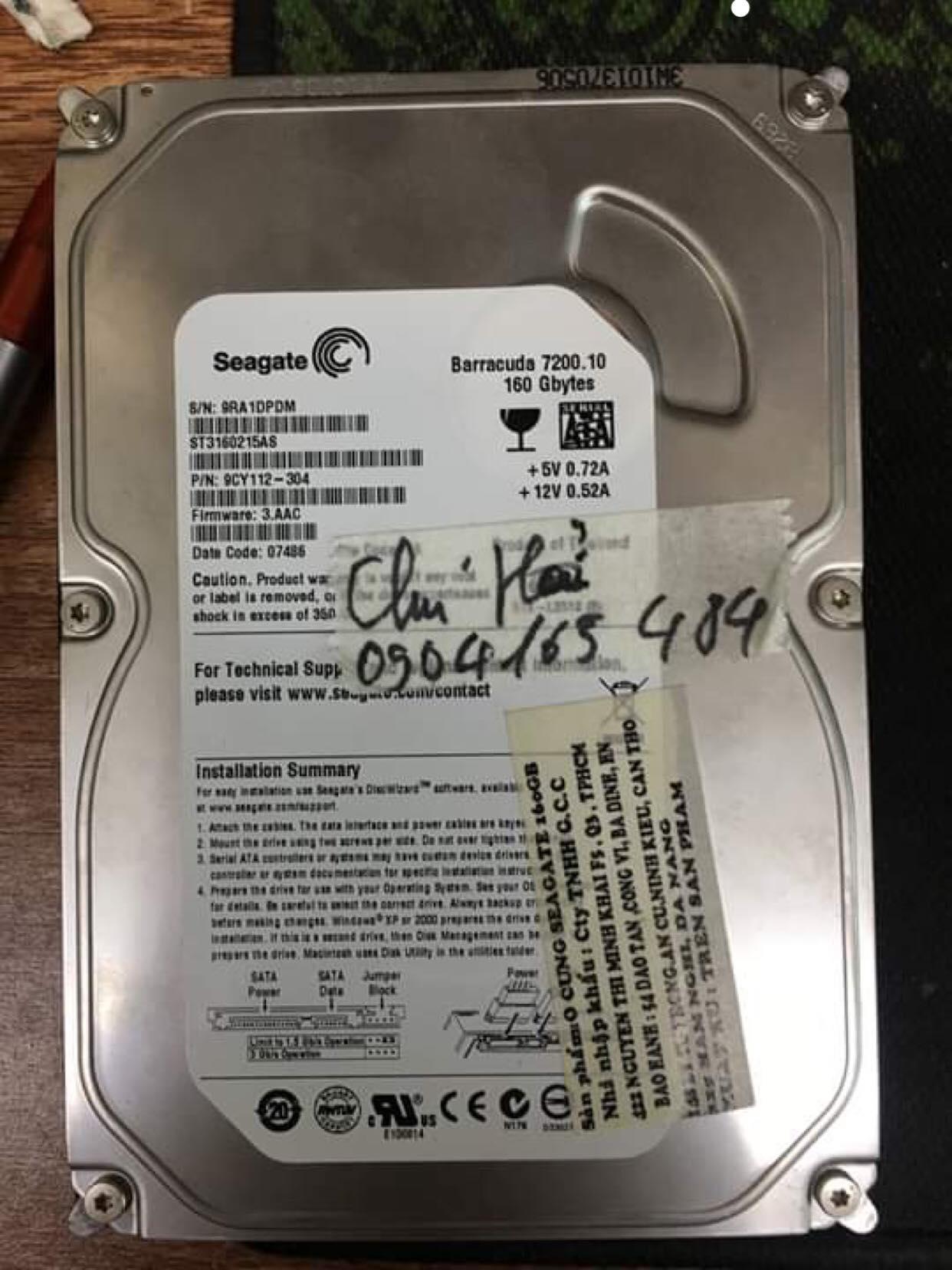 Lấy dữ liệu ổ cứng Seagate 160GB không nhận 19/02/2019 - cuumaytinh