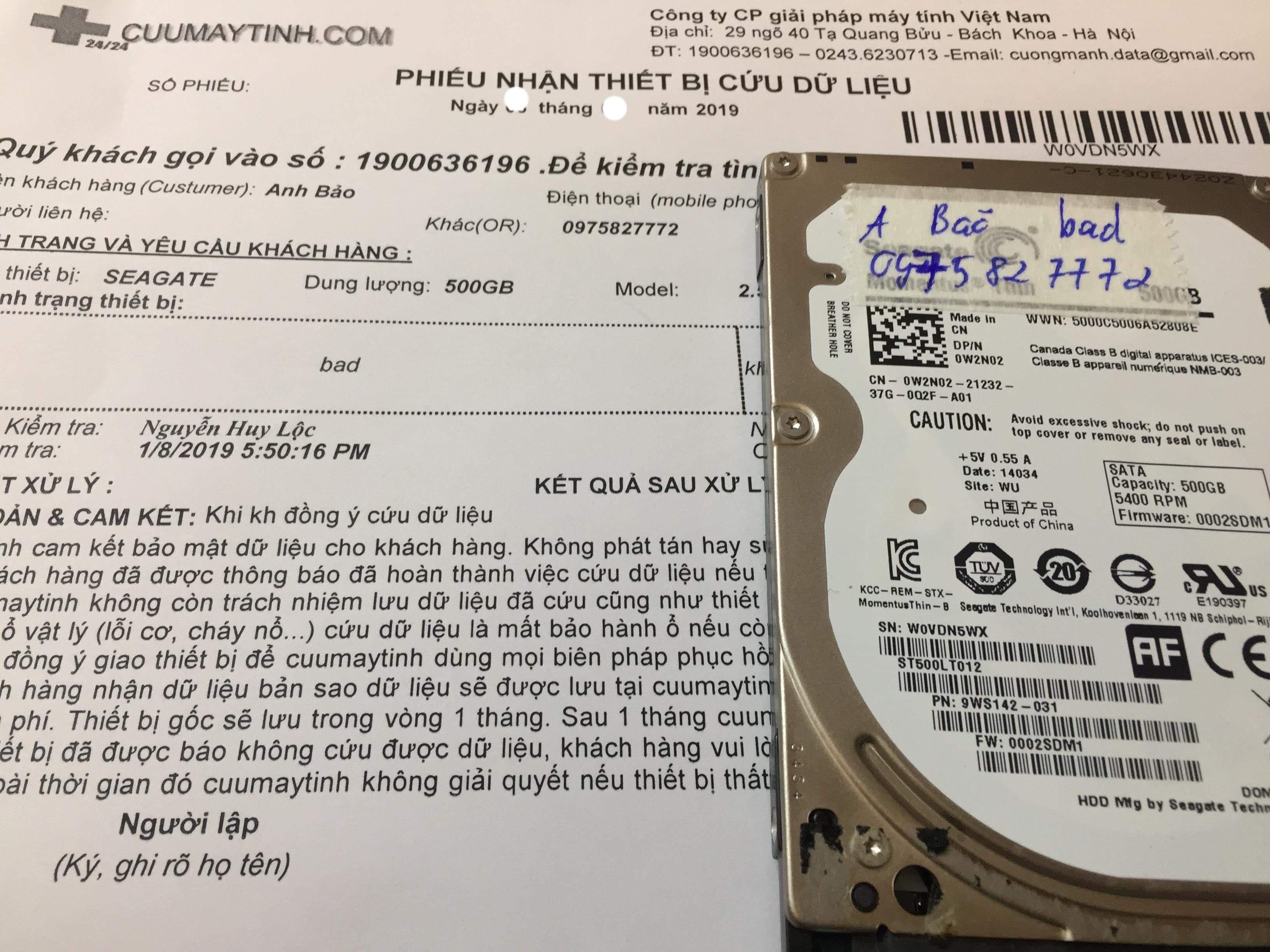 Lấy dữ liệu ổ cứng Seagate 500GB bad  01/02/2019 - cuumaytinh