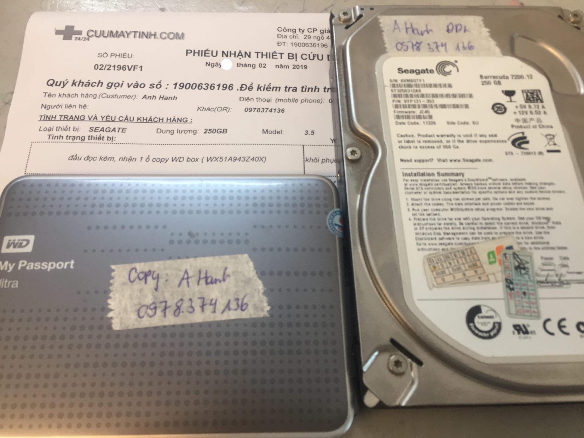 Lấy dữ liệu ổ cứng Seagate 250GB đầu đọc kém 23/02/2019 - cuumaytinh