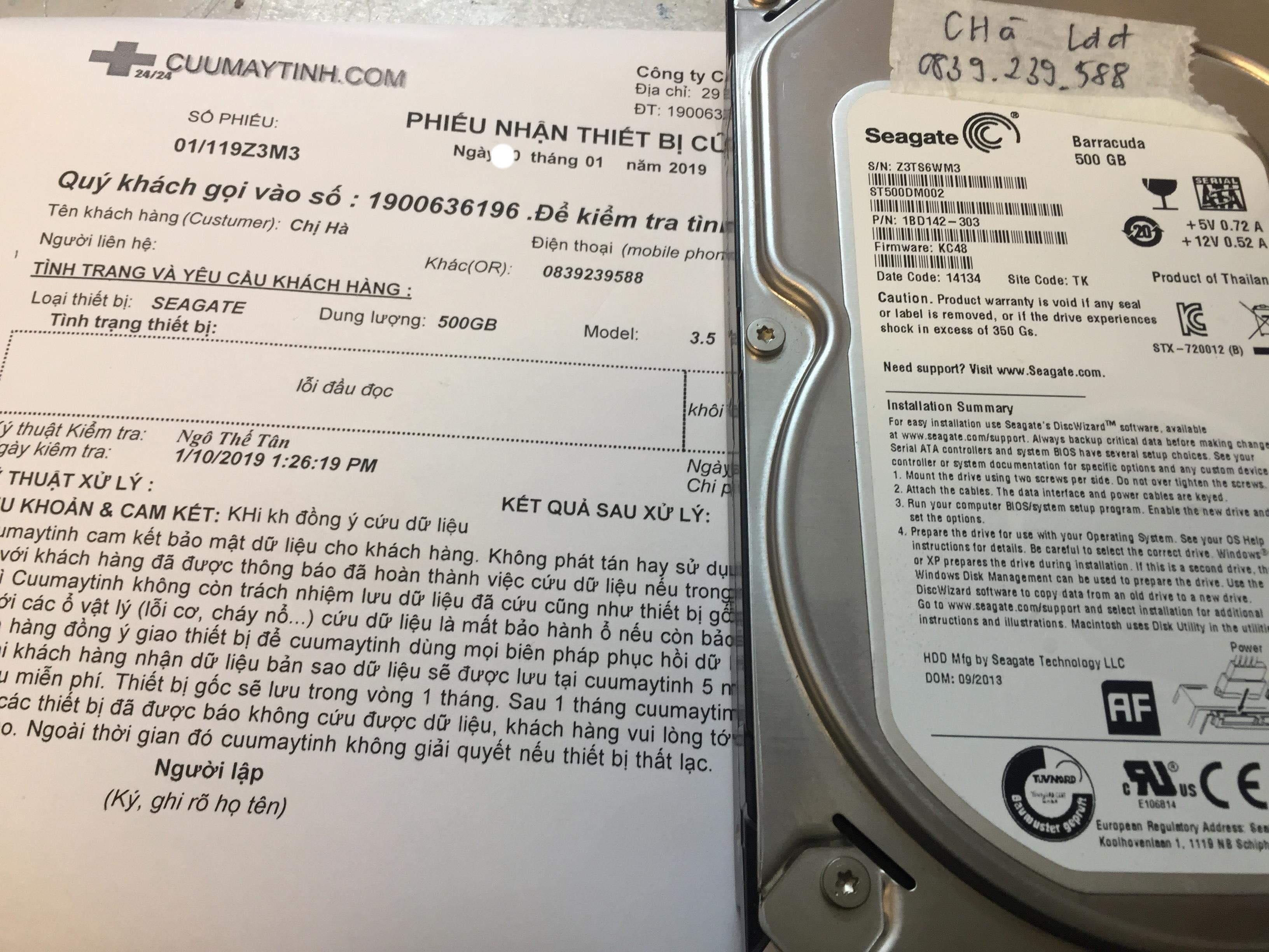 Lấy dữ liệu ổ cứng Seagate 500GB lỗi đầu đọc 31/01/2019 - cuumaytinh