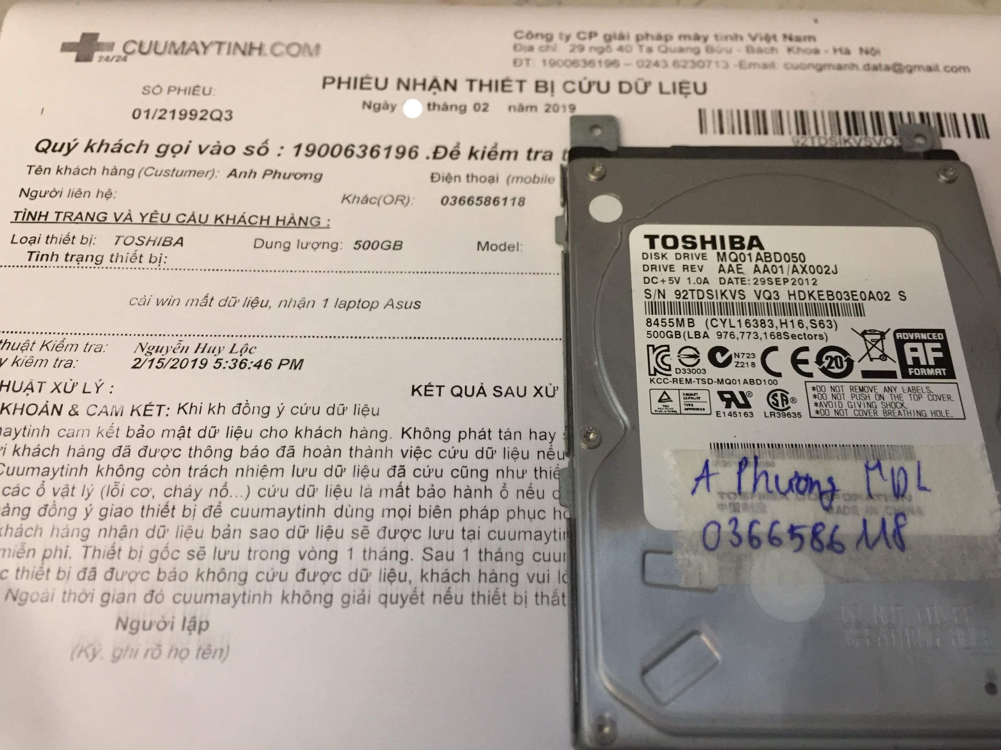 Lấy dữ liệu ổ cứng Toshiba 500GB cài win mất dữ liệu - 18/02/2019