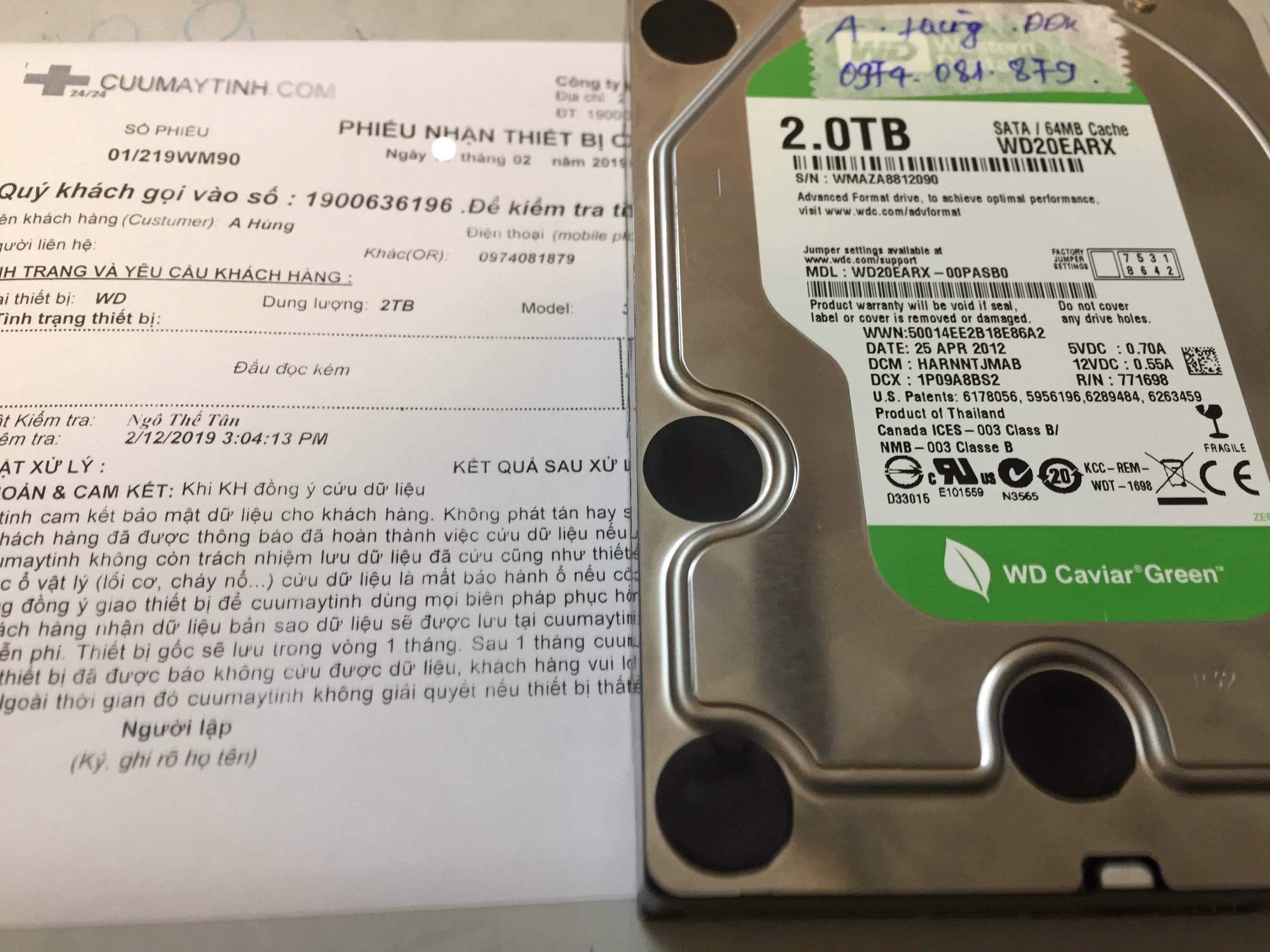 Lấy dữ liệu ổ cứng Western 2TB đầu đọc kém 20/02/2019 - cuumaytinh