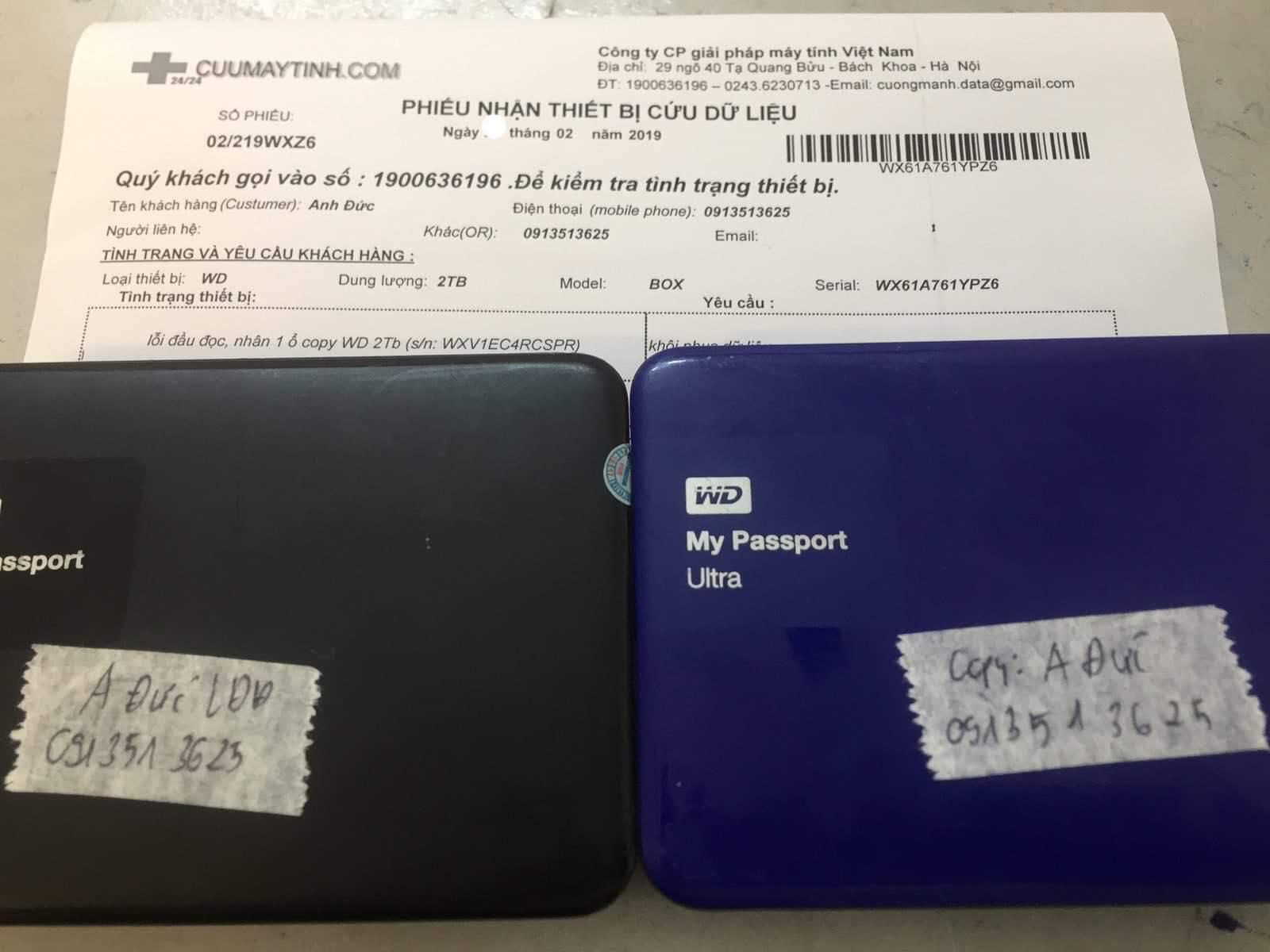Lấy dữ liệu ổ cứng Western 2TB lỗi đầu đọc 25/02/2019 - cuumaytinh