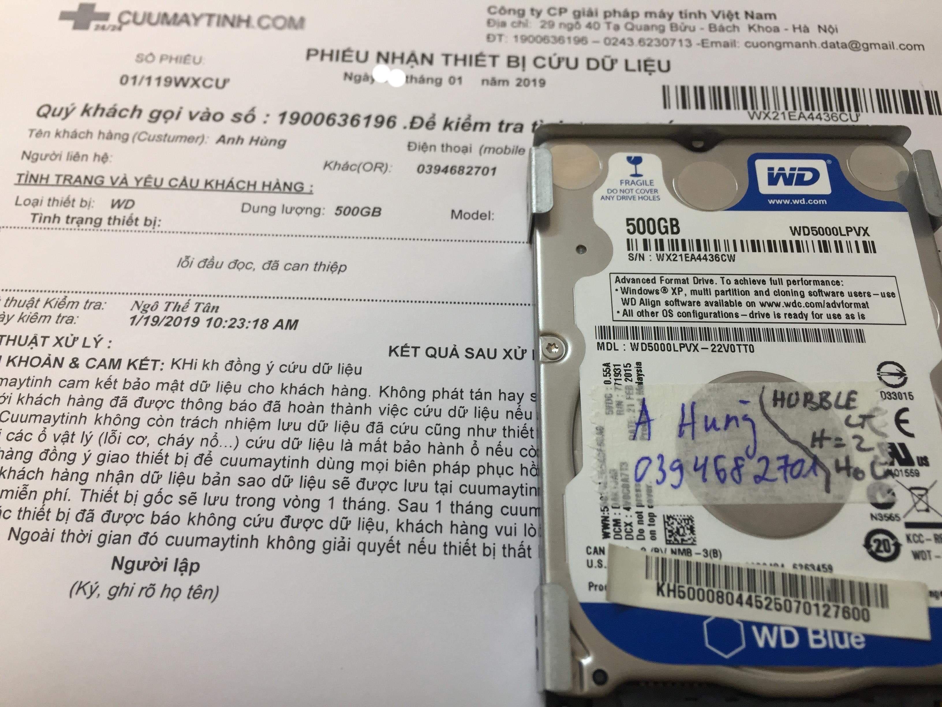 Lấy dữ liệu ổ cứng Western 500GB lỗi đầu đọc 29/01/2019 - cuumaytinh