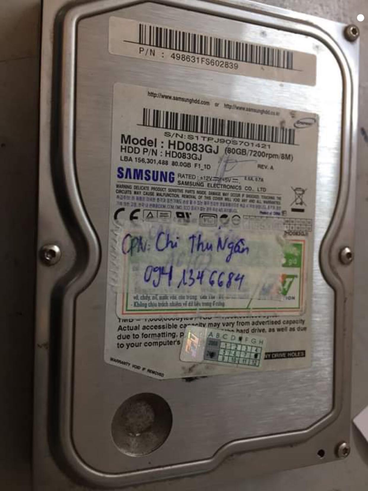 Phục hồi dữ liệu ổ cứng Samsung 80GB lỗi cơ tại Huế 22/02/2019 - cuumaytinh