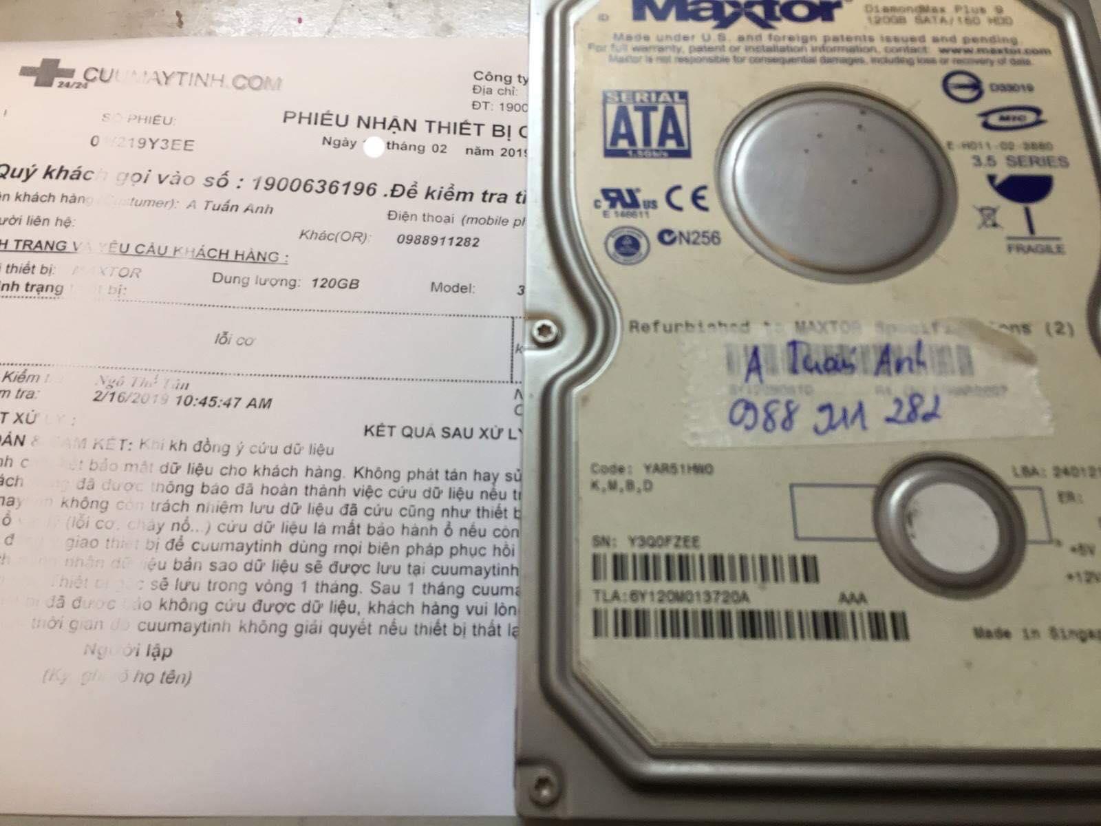 Phục hồi dữ liệu ỏ cứng Maxtor 120GB lỗi cơ 19/02/2019 - cuumaytinh