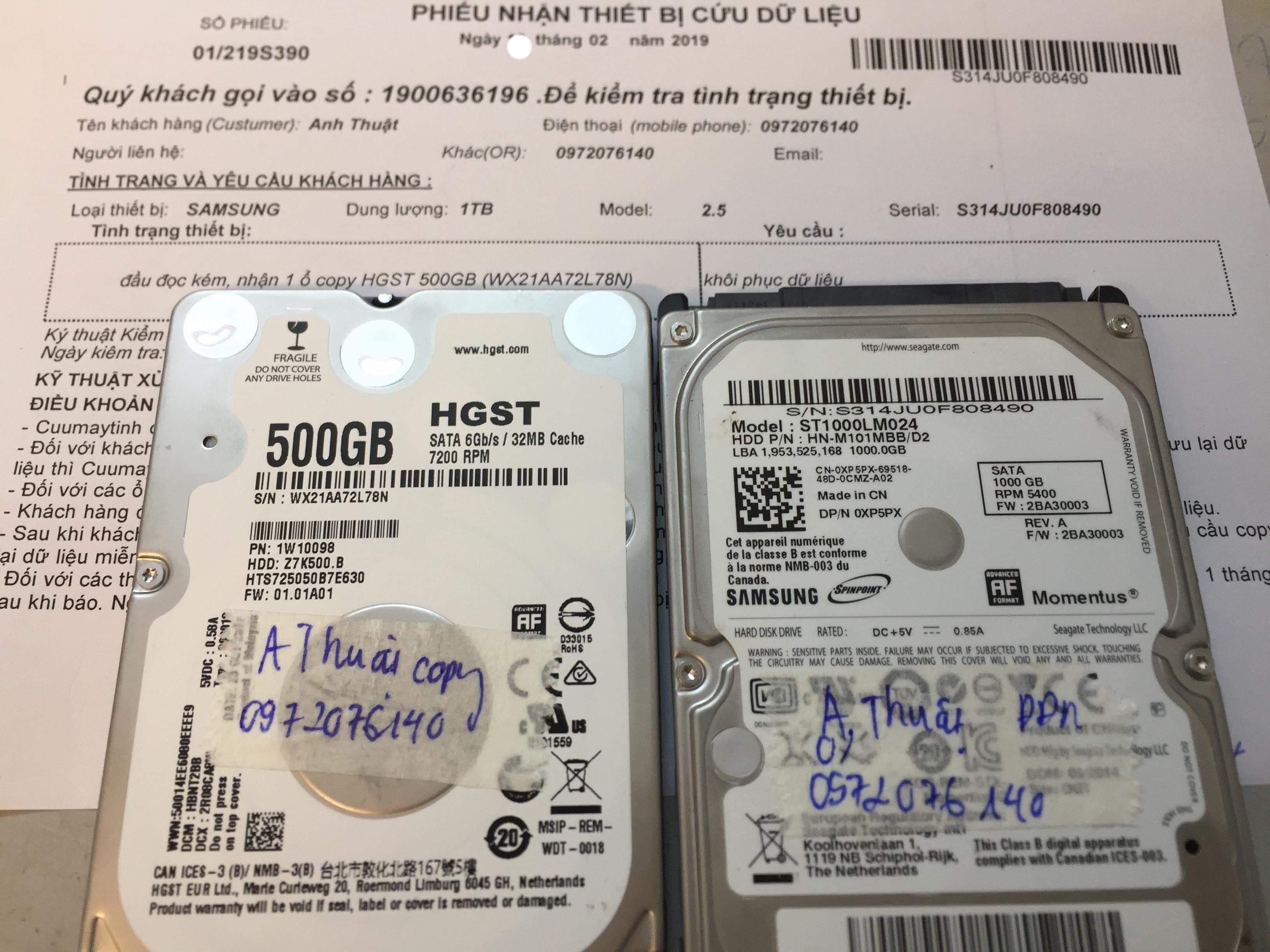 Phục hồi dữ liệu ổ cứng Samsung 1TB đầu đọc kém 21/02/2019 - cuumaytinh