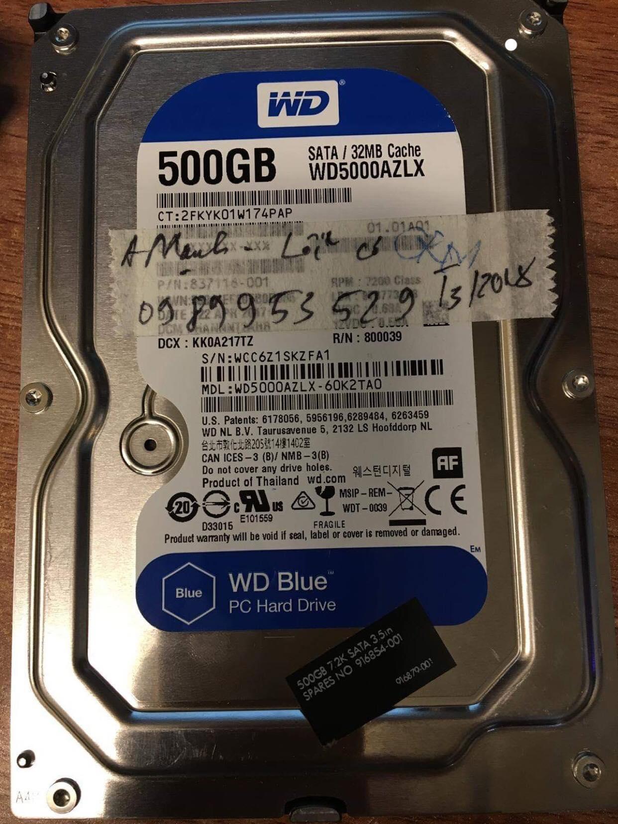 Cứu dữ liệu ổ cứng Western 500GB lỗi cơ 29/01/2019 - cuumaytinh