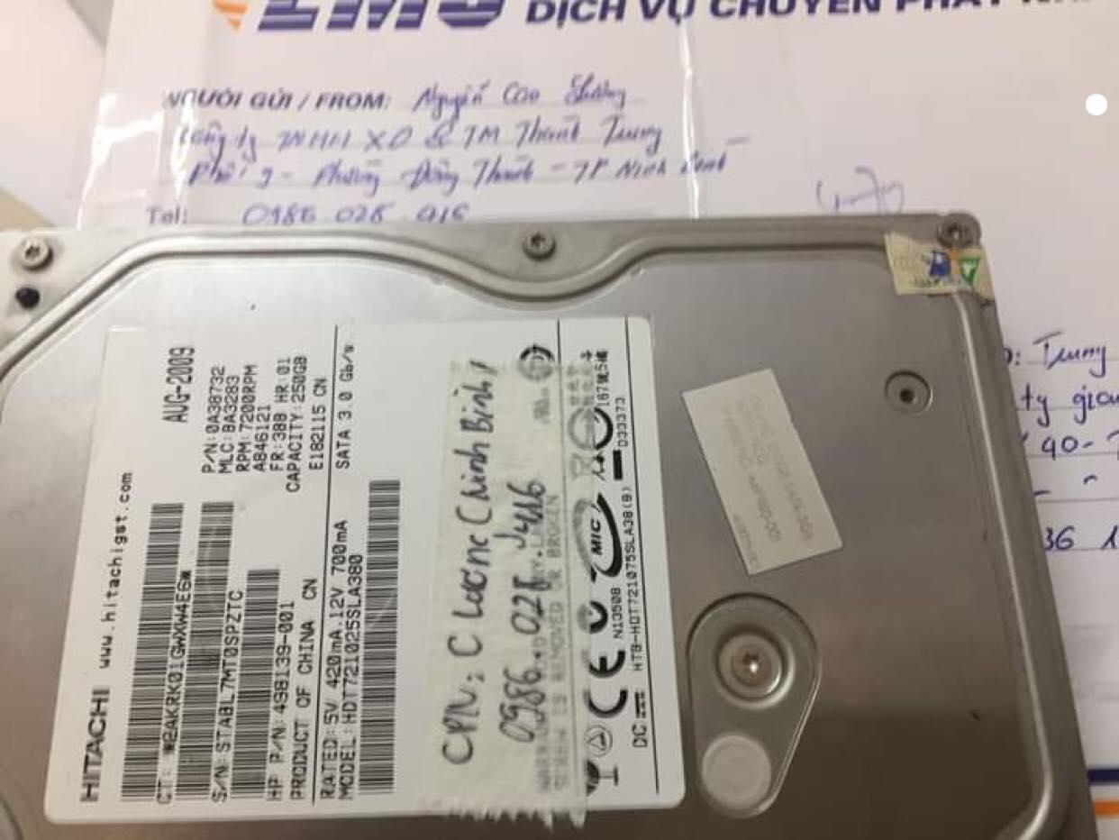 Cứu dữ liệu ổ cứng Hitachi 250GB lỗi cơ tại Ninh Bình 26/02/2019 - cuumaytinh