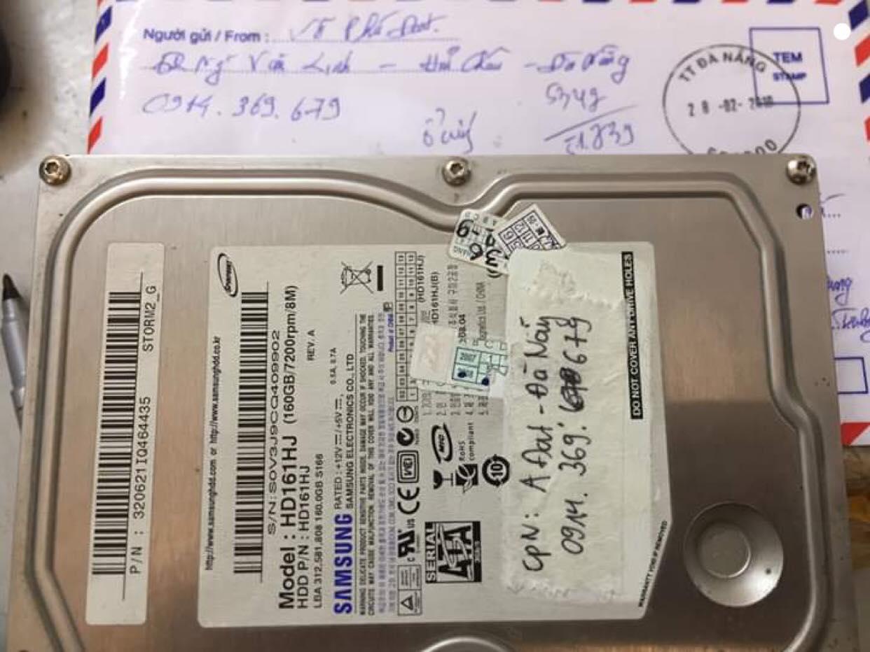 Cứu dữ liệu ổ cứng Samsung 160GB đầu đọc kém tại Đà Nẵng 11/03/2019 - cuumaytinh