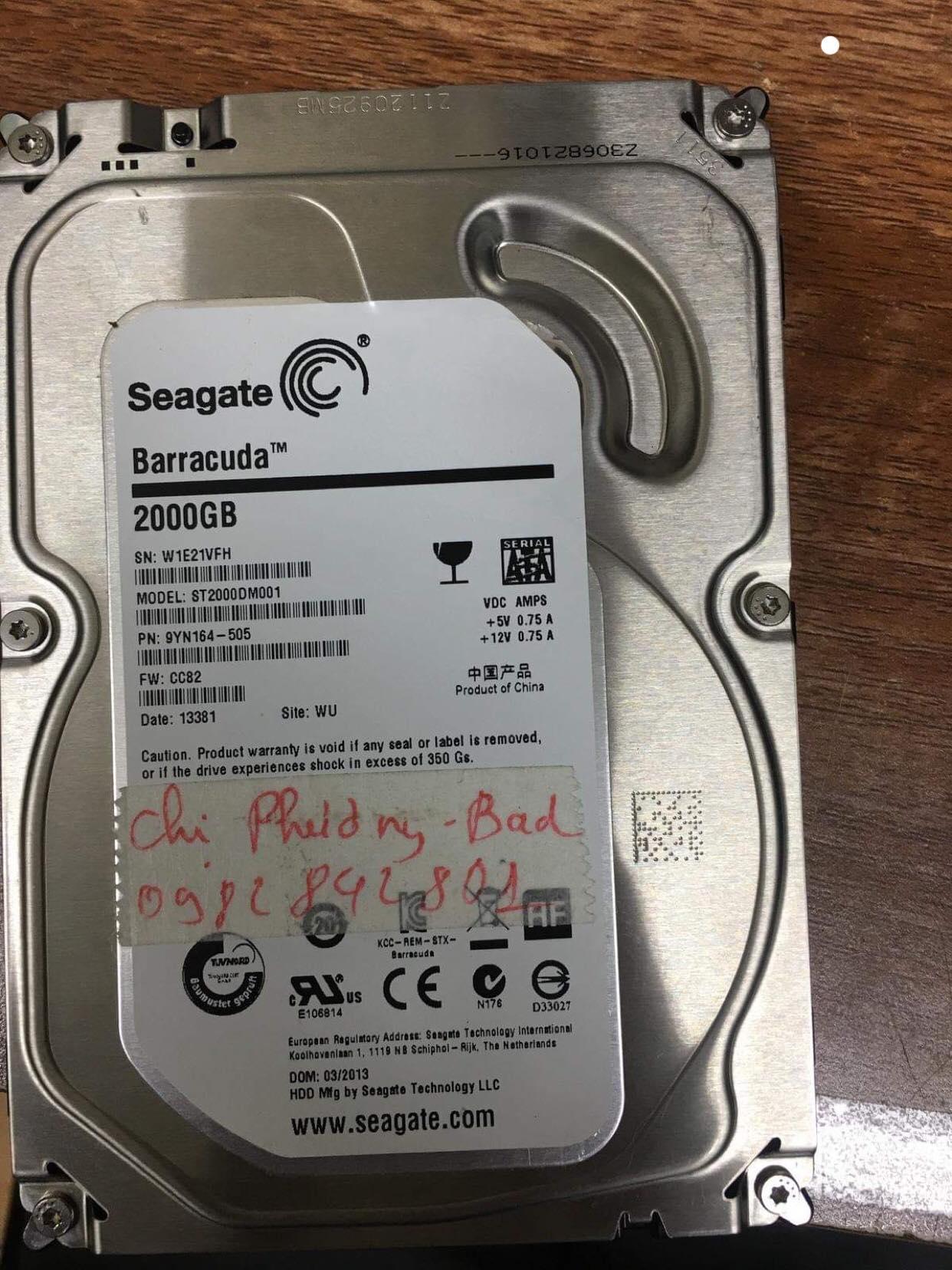 Cứu dữ liệu ổ cứng Seagate 2TB bad 08/03/2019 - cuumaytinh