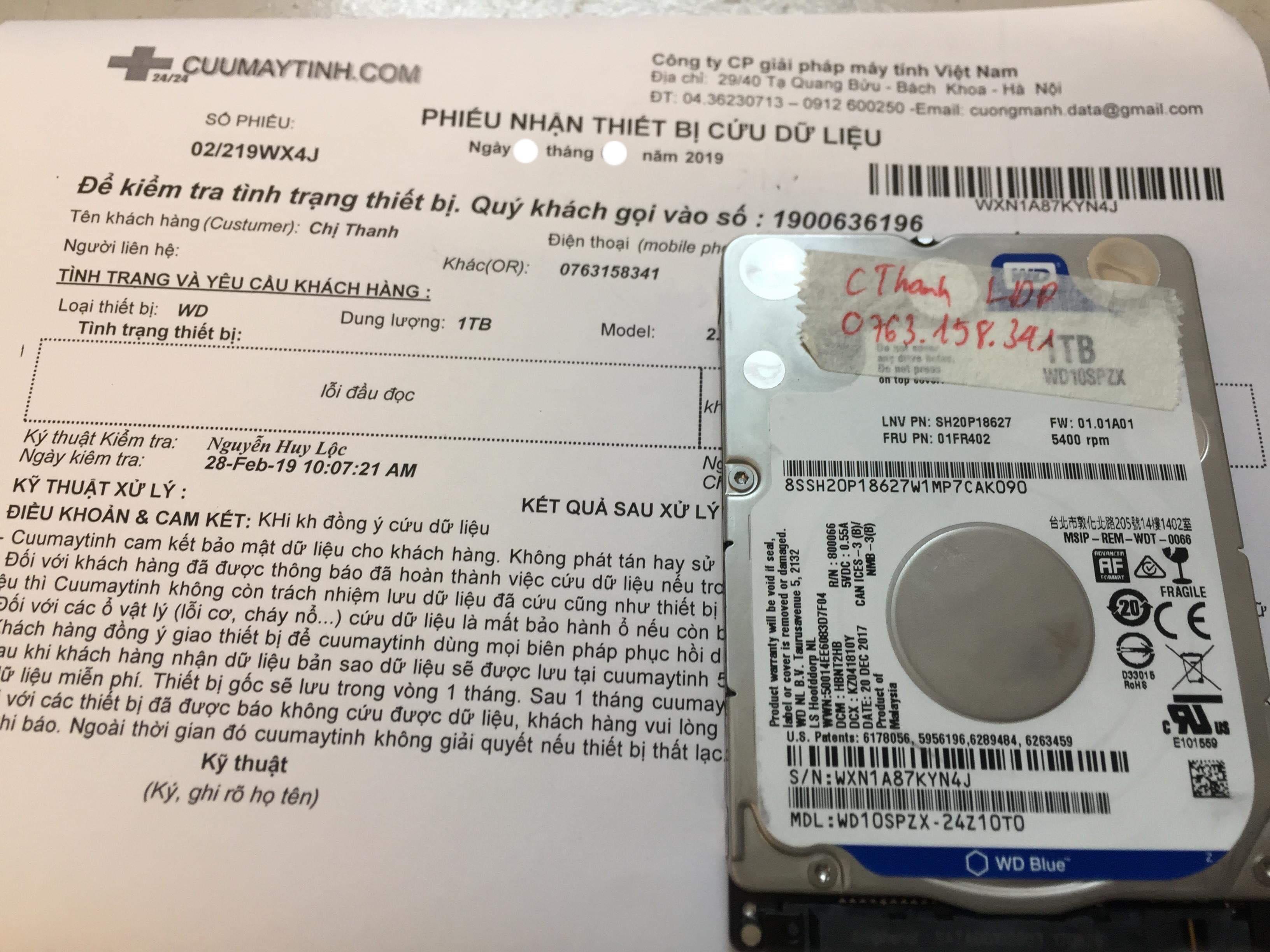 Cứu dữ liệu ổ cứng Western 1TB lỗi đầu đọc 01/03/2019 - cuumaytinh