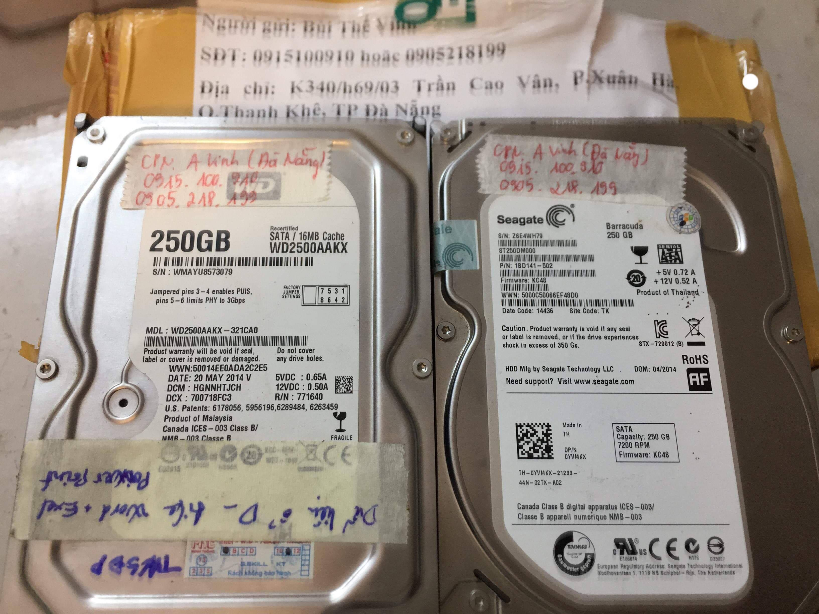 Cứu dữ liệu ổ cứng Western 250GB lỗi cơ tại Đà Nẵng 15/03/2019 - cuumaytinh