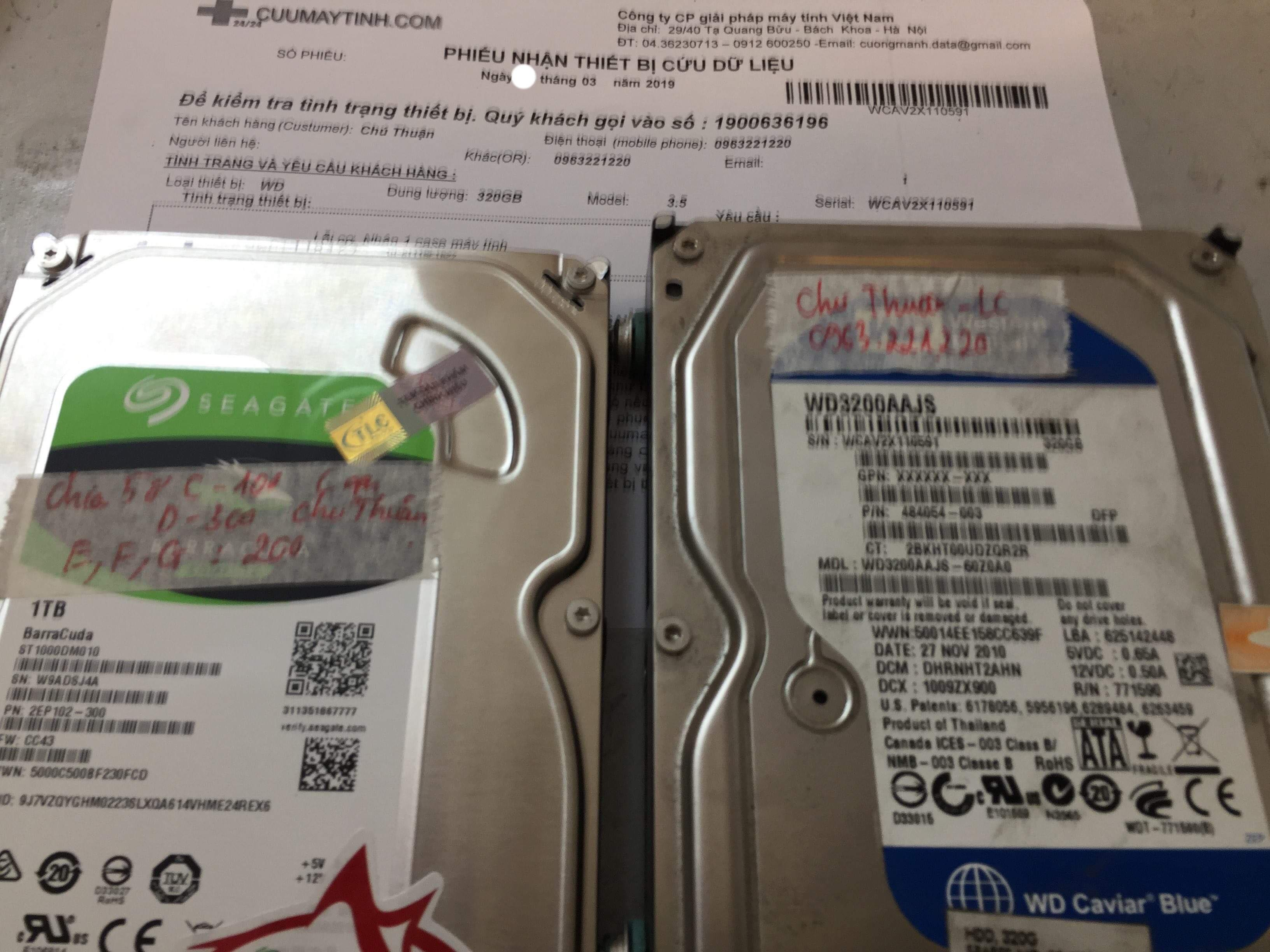Cứu dữ liệu ổ cứng Western 320GB lỗi cơ 05/03/2019 - cuumaytinh