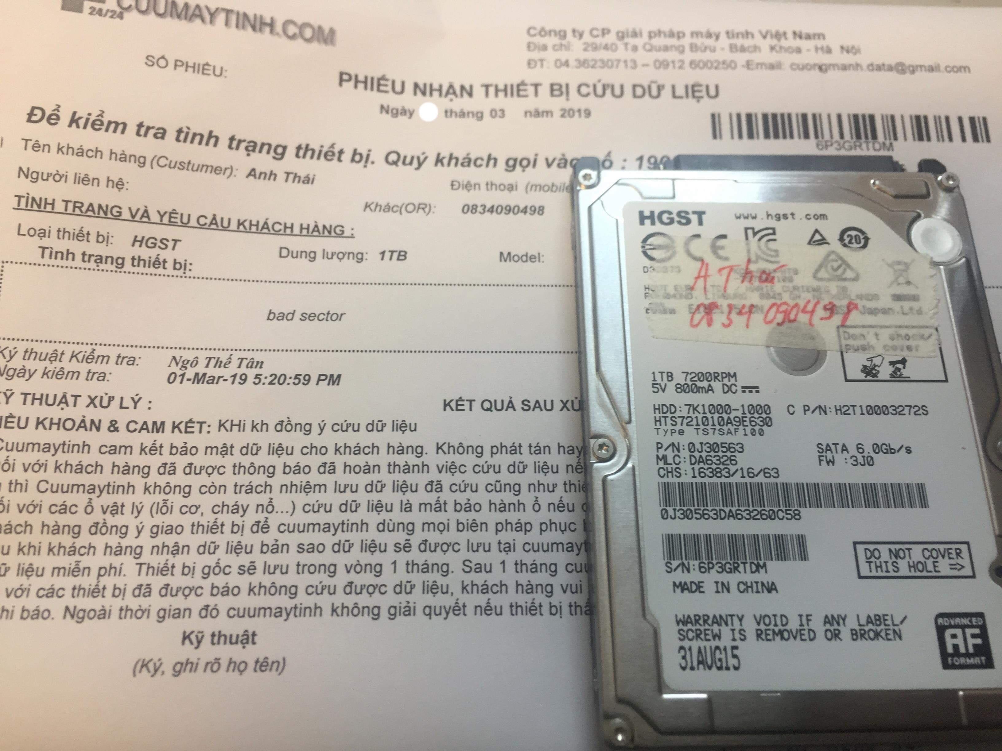 Khôi phục dữ liệu ổ cứng HGST 1TB bad sector 06/03/2019 - cuumaytinh