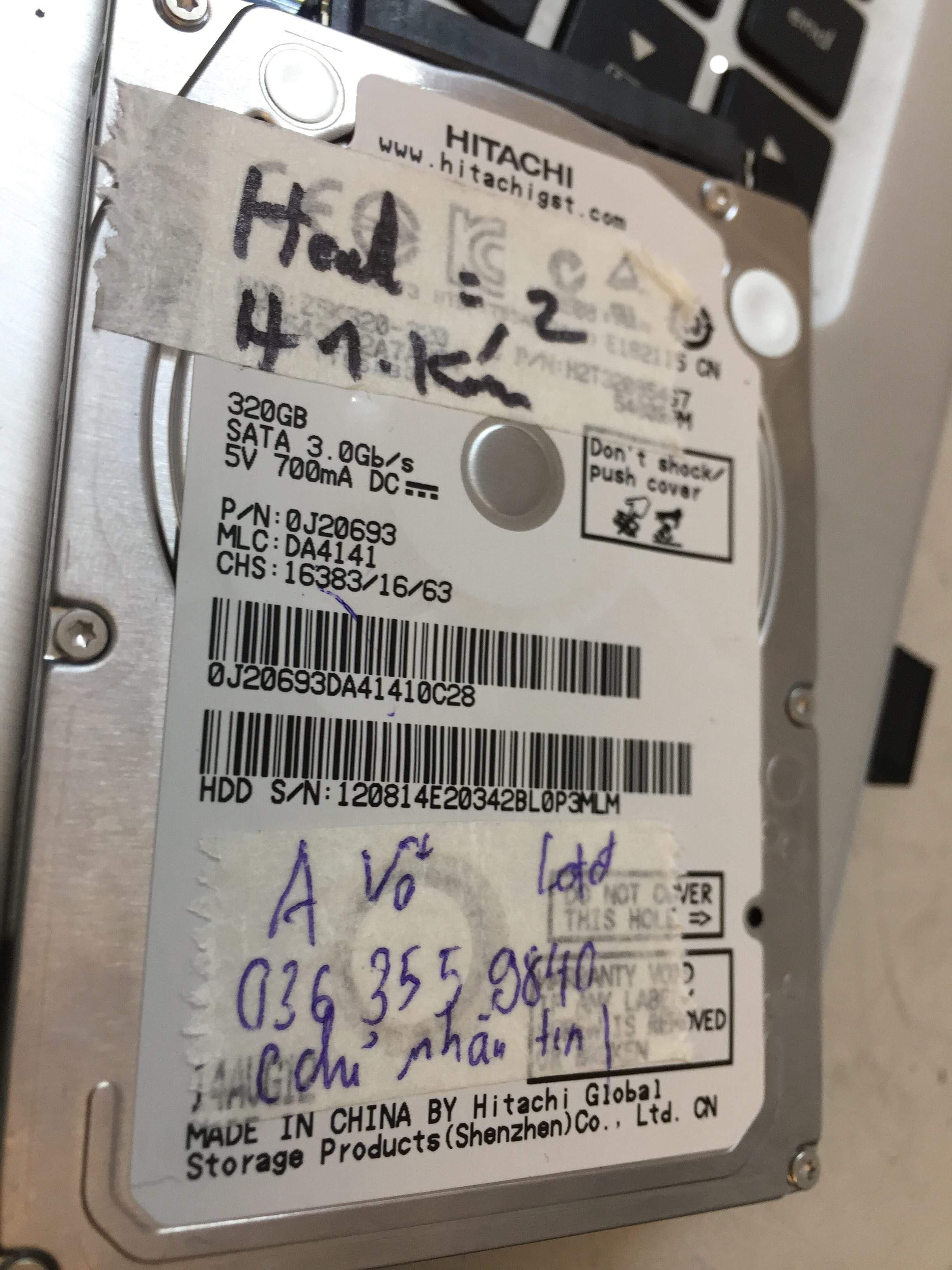 Khôi phục dữ liệu ổ cứng Hitachi 320GB lỗi đầu đọc 26/02/2019 - cuumaytinh