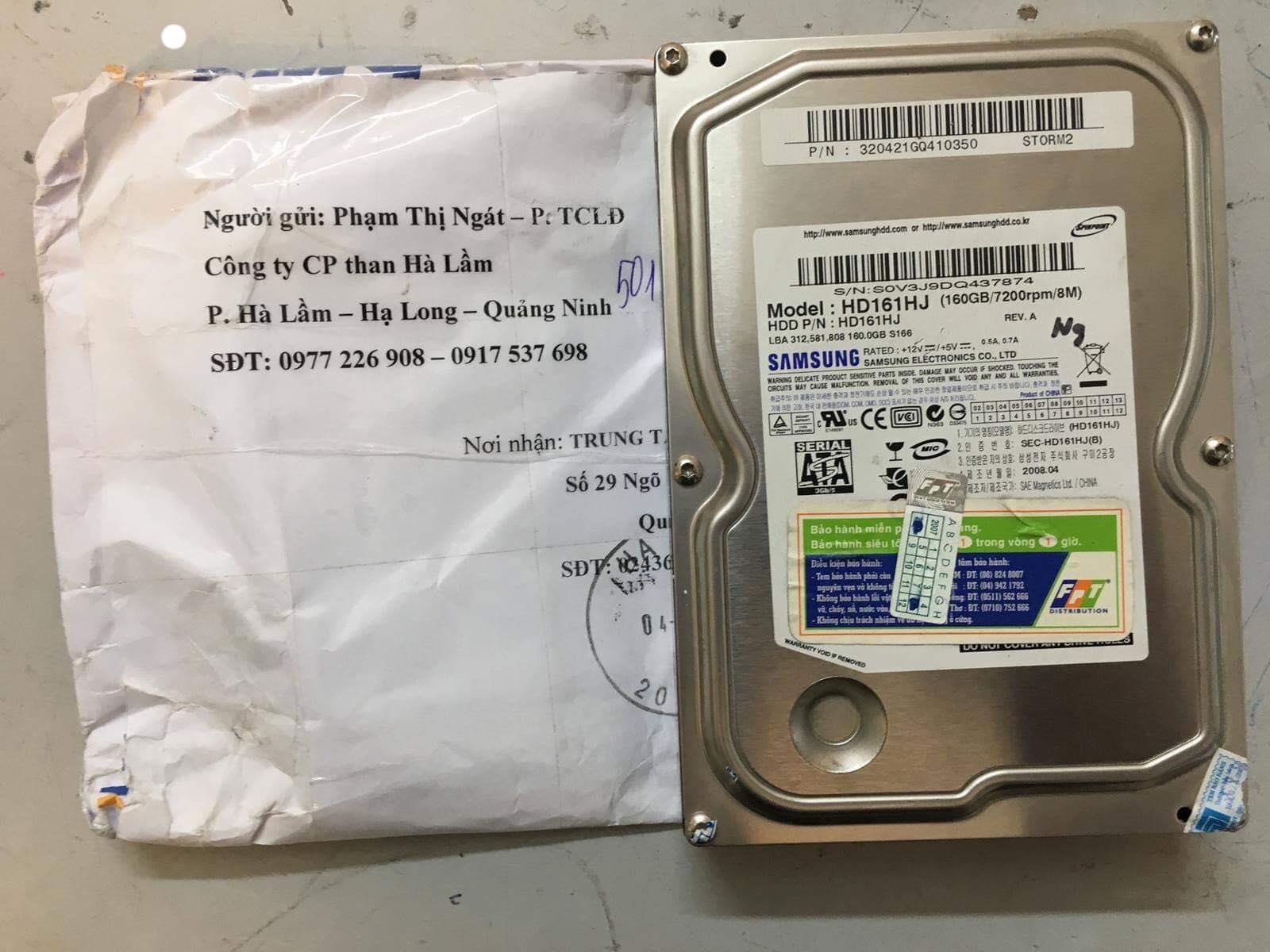 Khôi phục dữ liệu ổ cứng Samsung 160GB không nhận tại Quảng Ninh 04/03/2019 cuumaytinh