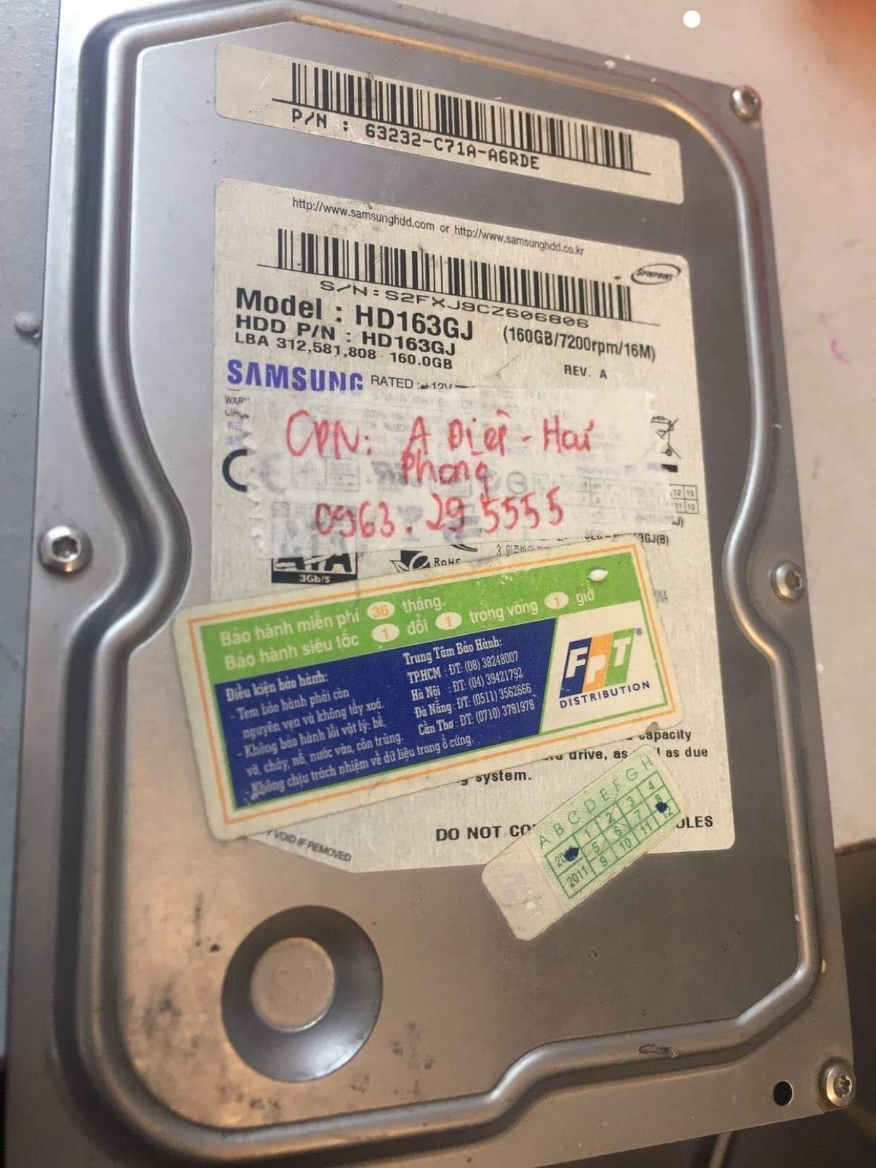Khôi phục dữ liệu ổ cứng Samsung 160GB lỗi cơ tại Hải Phòng 27/02/2019 - cuumaytinh