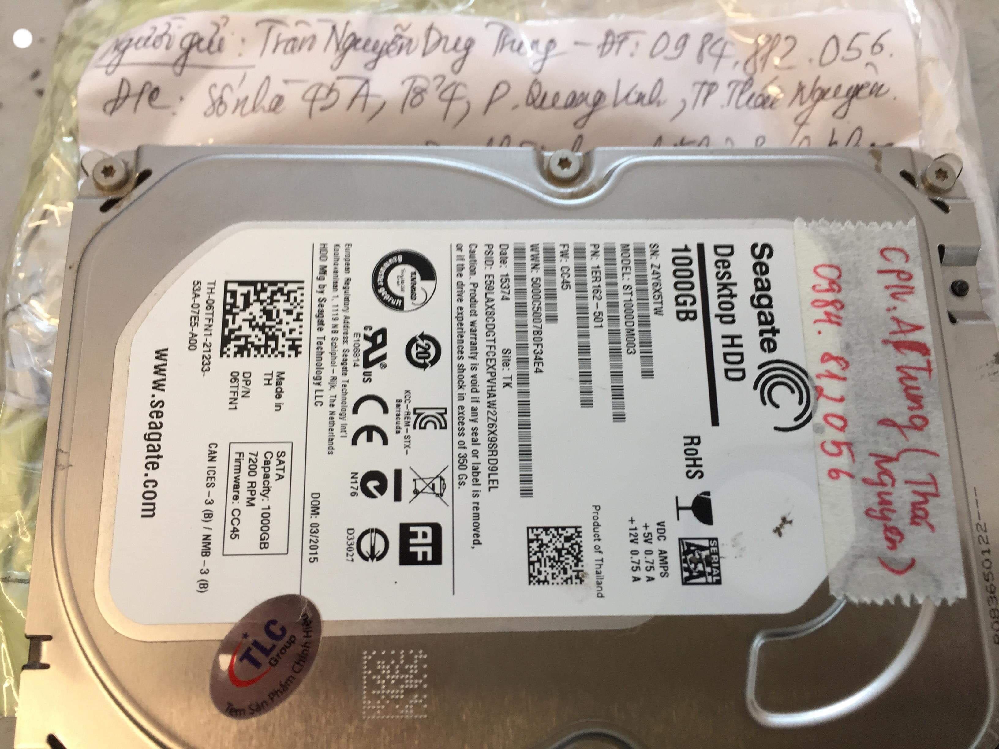 Khôi phục dữ liệu ổ cứng Seagate 1TB gộp ổ, mất dữ liệu 23/03/2019 - cuumaytinh