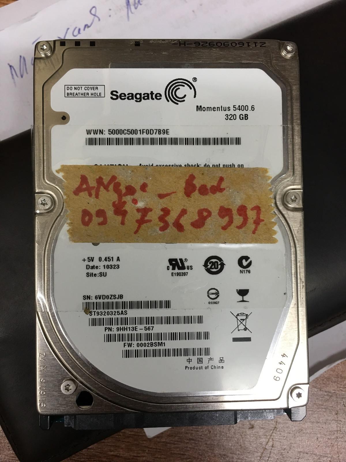 Khôi phục dữ liệu ổ cứng Seagate 320GB bad 09/03/2019 - cuumaytinh