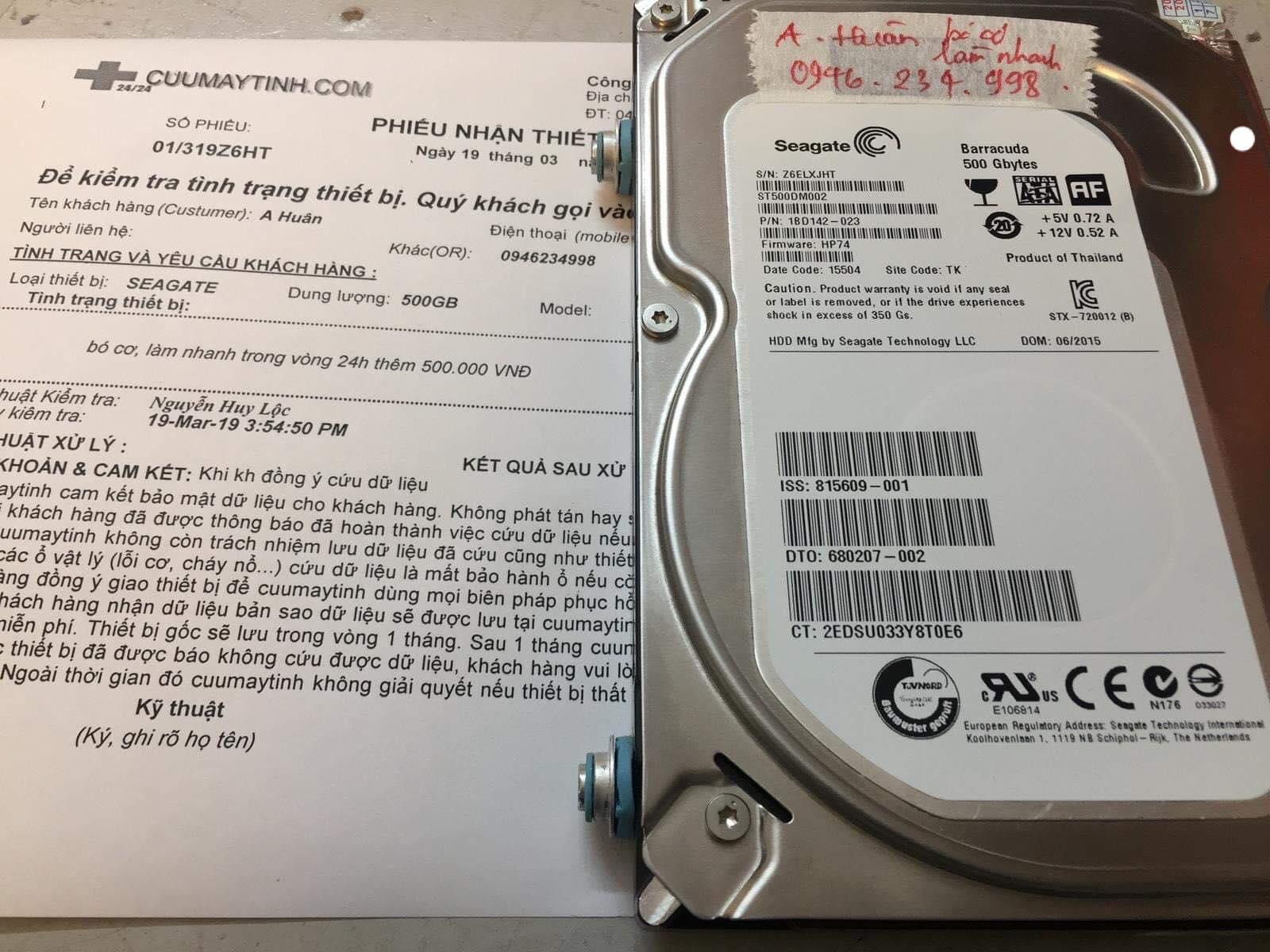 Khôi phục dữ liệu ổ cứng Seagate 500GB bó cơ 19/03/2019 - cuumaytinh