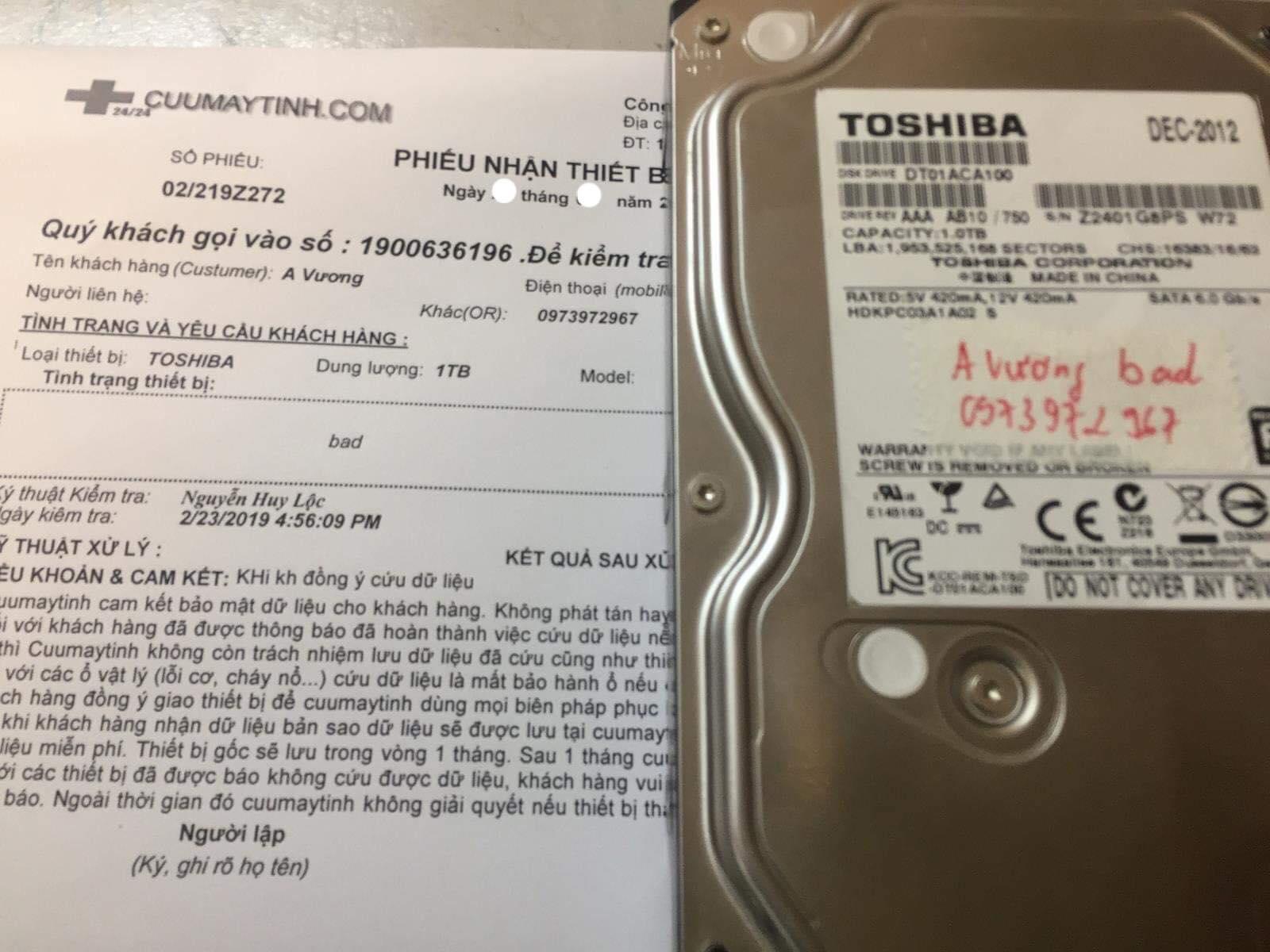 Khôi phục dữ liệu ổ cứng Toshiba 1TB bad 16/03/2019 - cuumaytinh