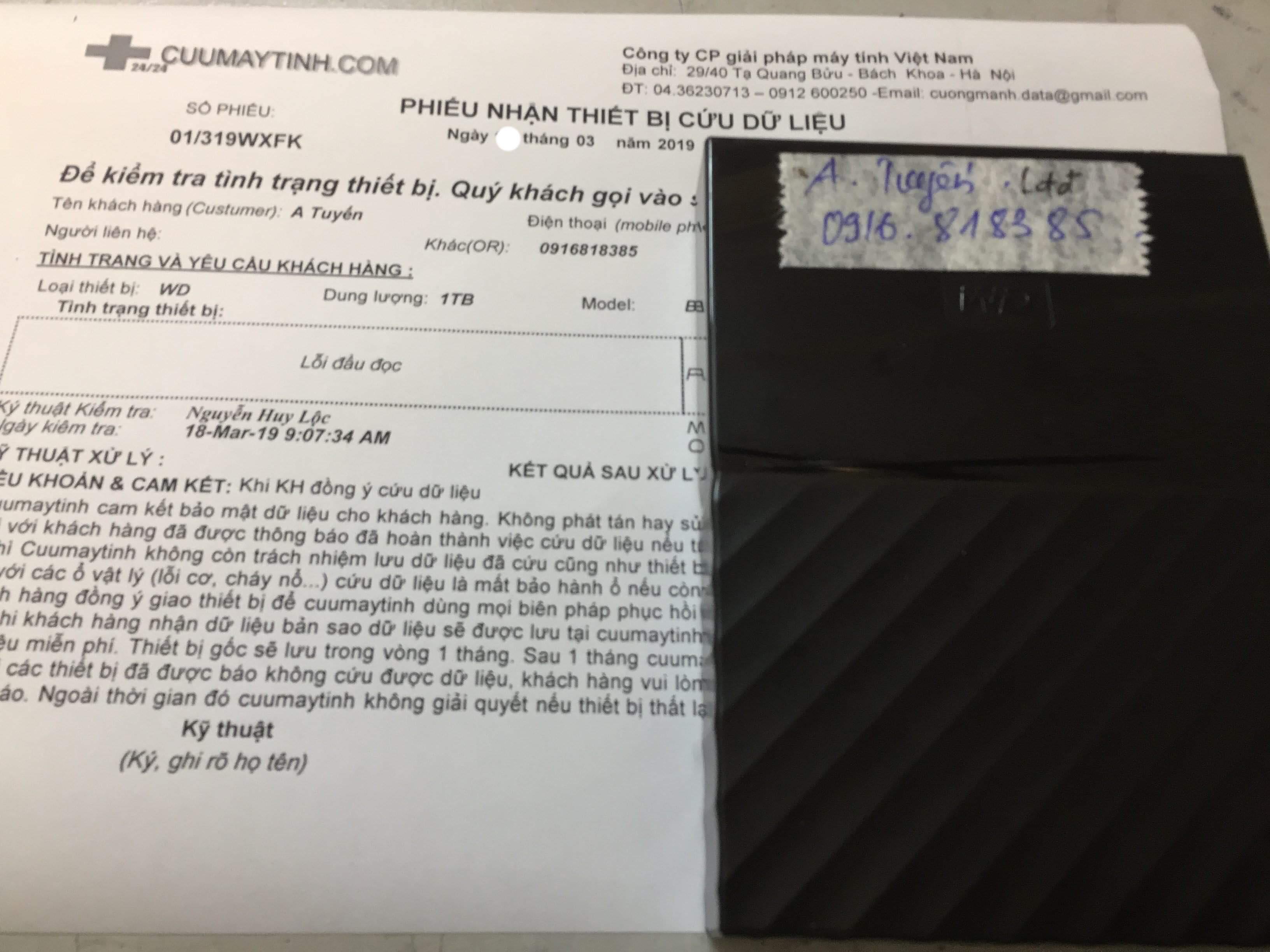 Khôi phục dữ liệu ổ cứng Western 1TB lỗi đầu đọc 25/03/2019 - cuumaytinh
