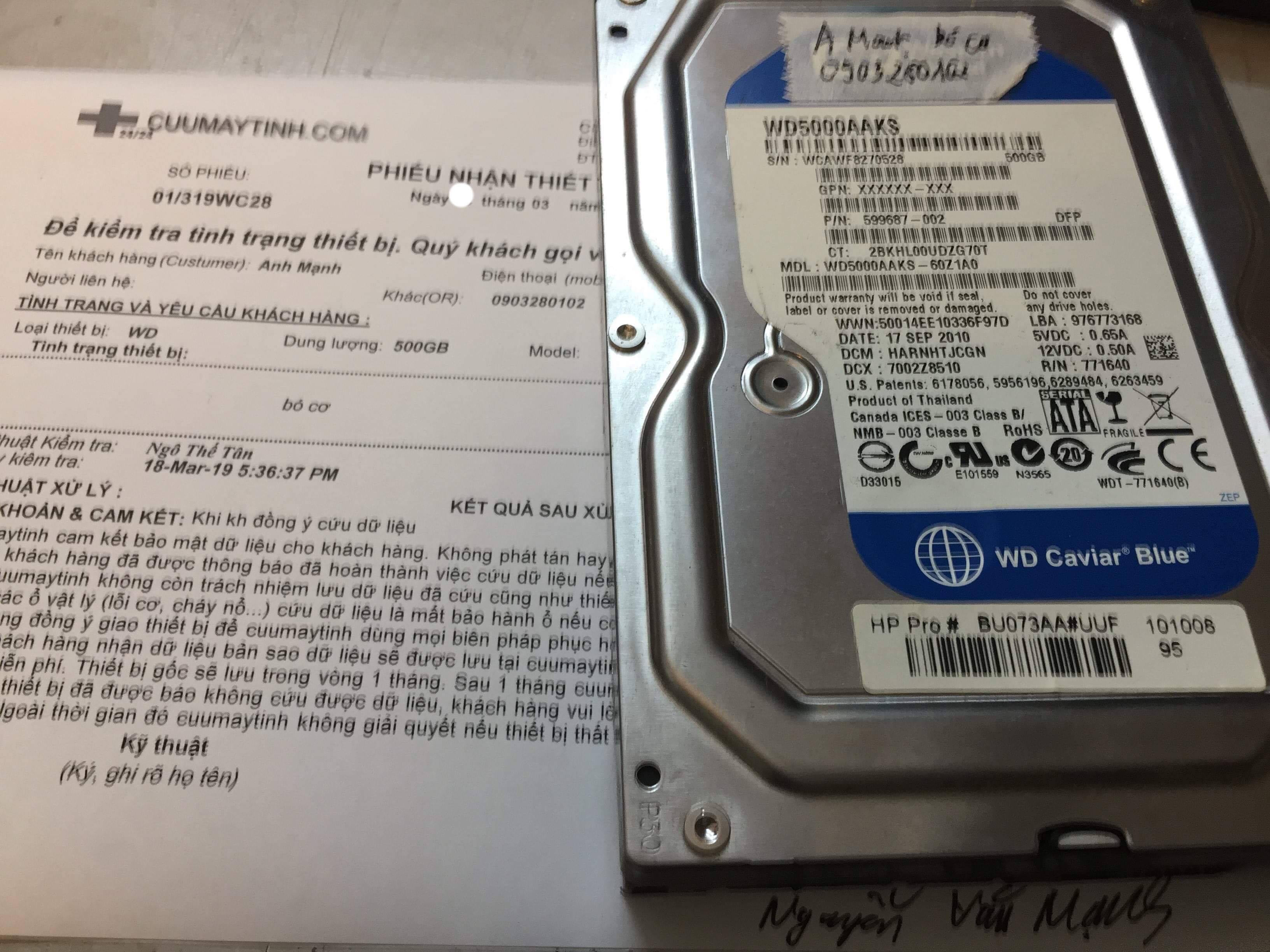 Khôi phục dữ liệu ổ cứng Western 500GB bó cơ 21/03/2019 - cuumaytinh