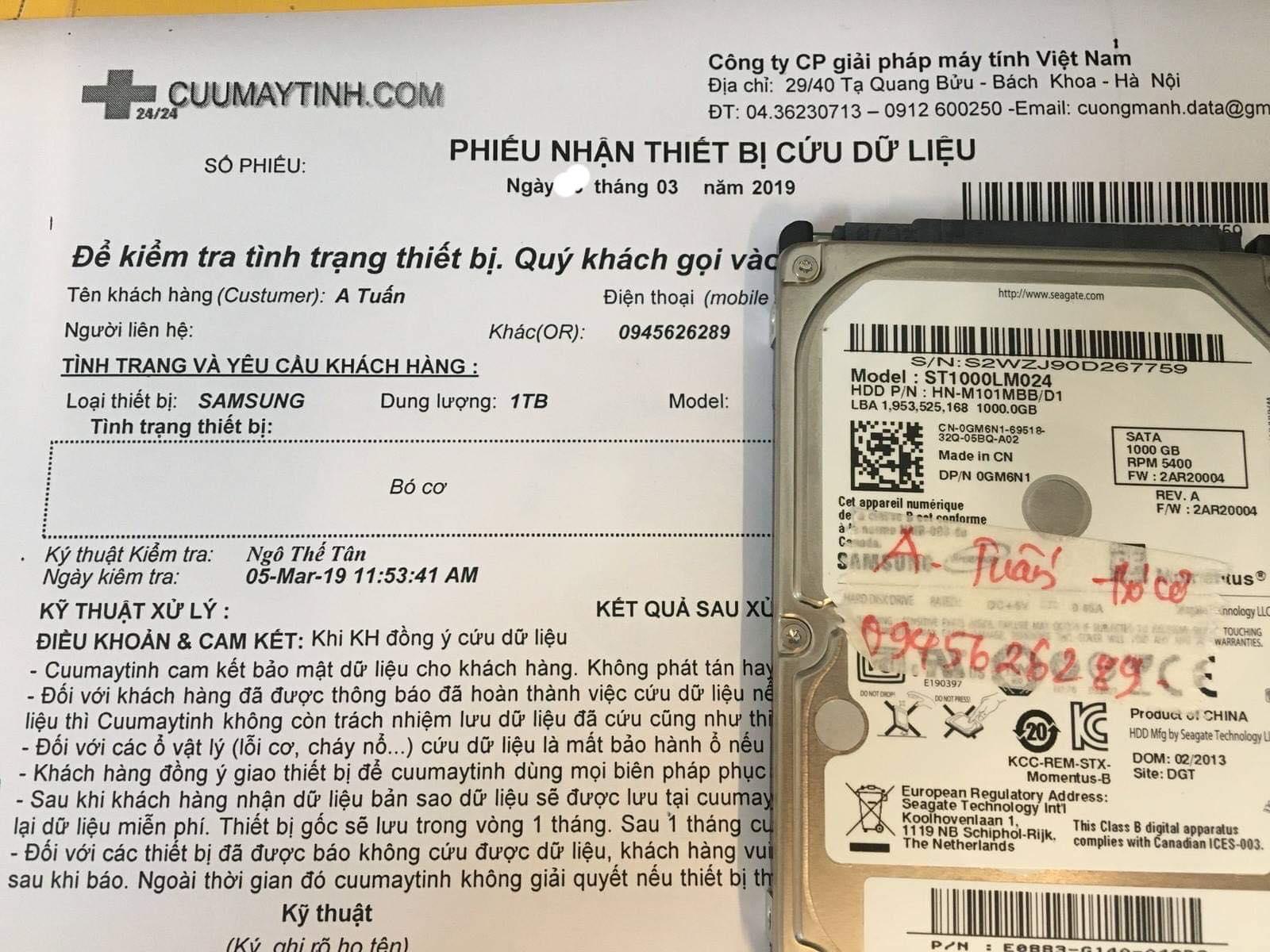 Lấy dữ liệu ổ cứng Samsung 1TB bó cơ 05/03/2019 - cuumaytinh