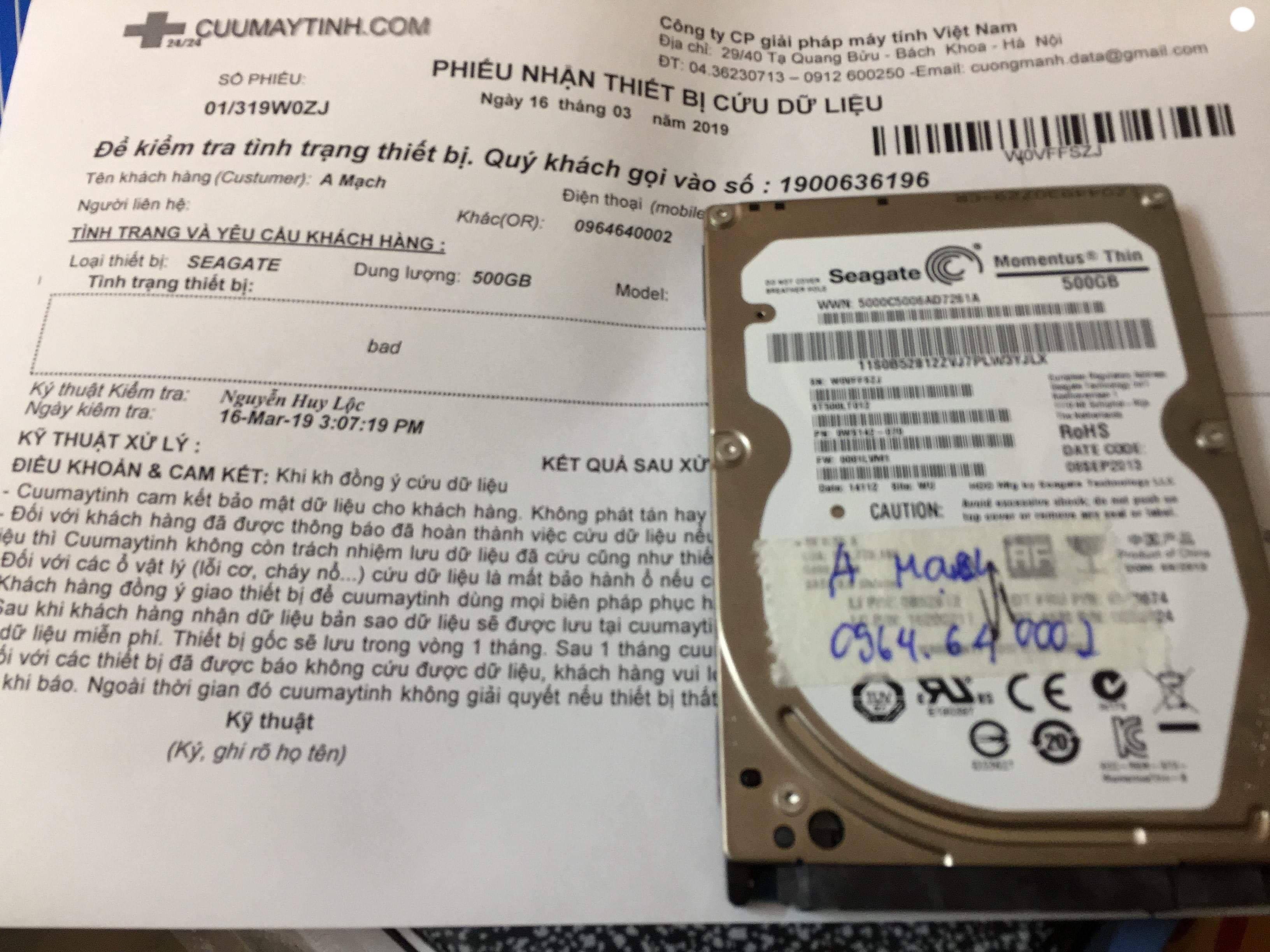 Lấy dữ liệu ổ cứng Seagate 500GB bad sector 16/03/2019  - cuumaytinh