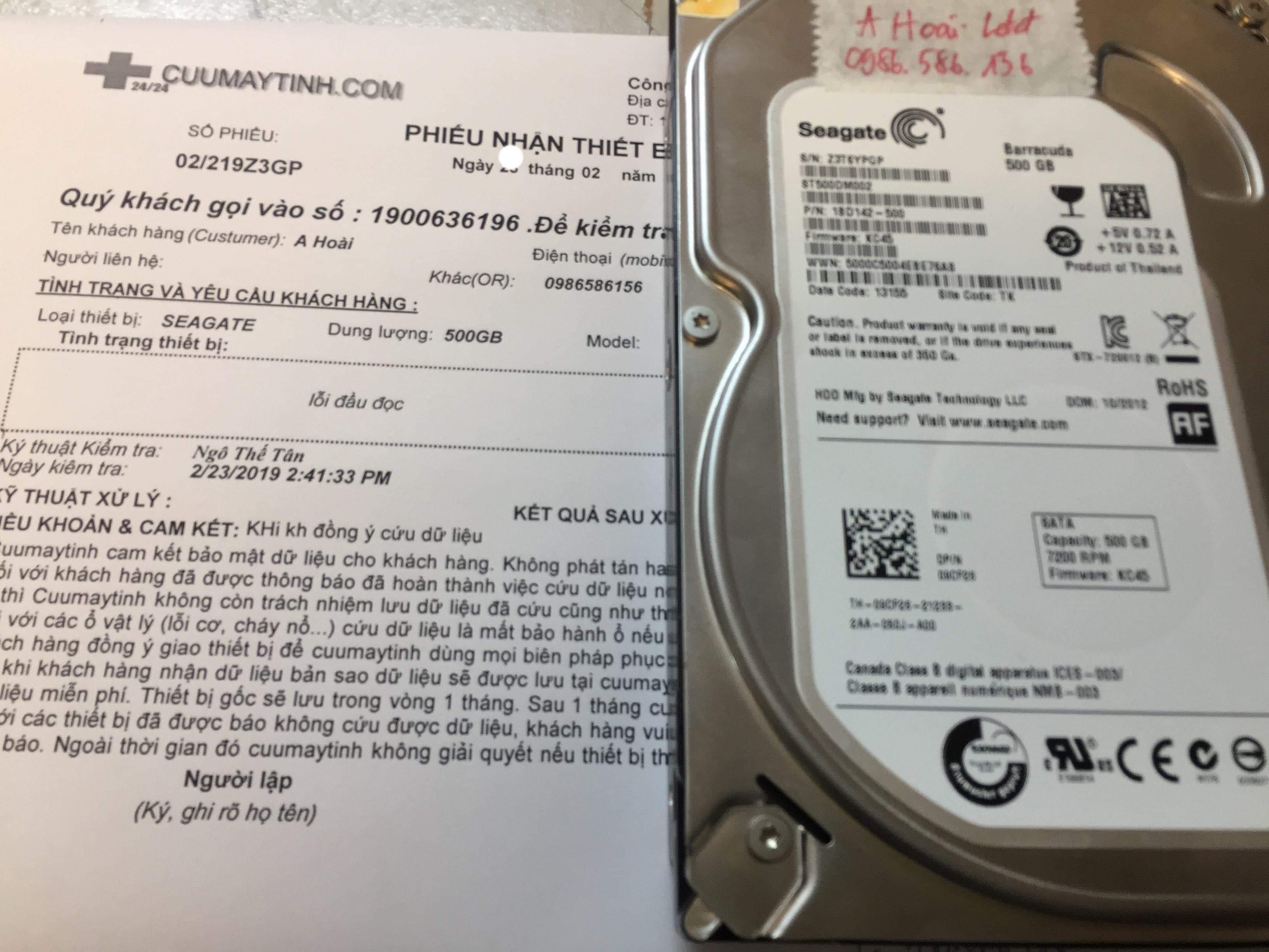 Lấy dữ liệu ổ cứng Seagate 500GB lỗi đầu đọc 27/02/2019 - cuumaytinh