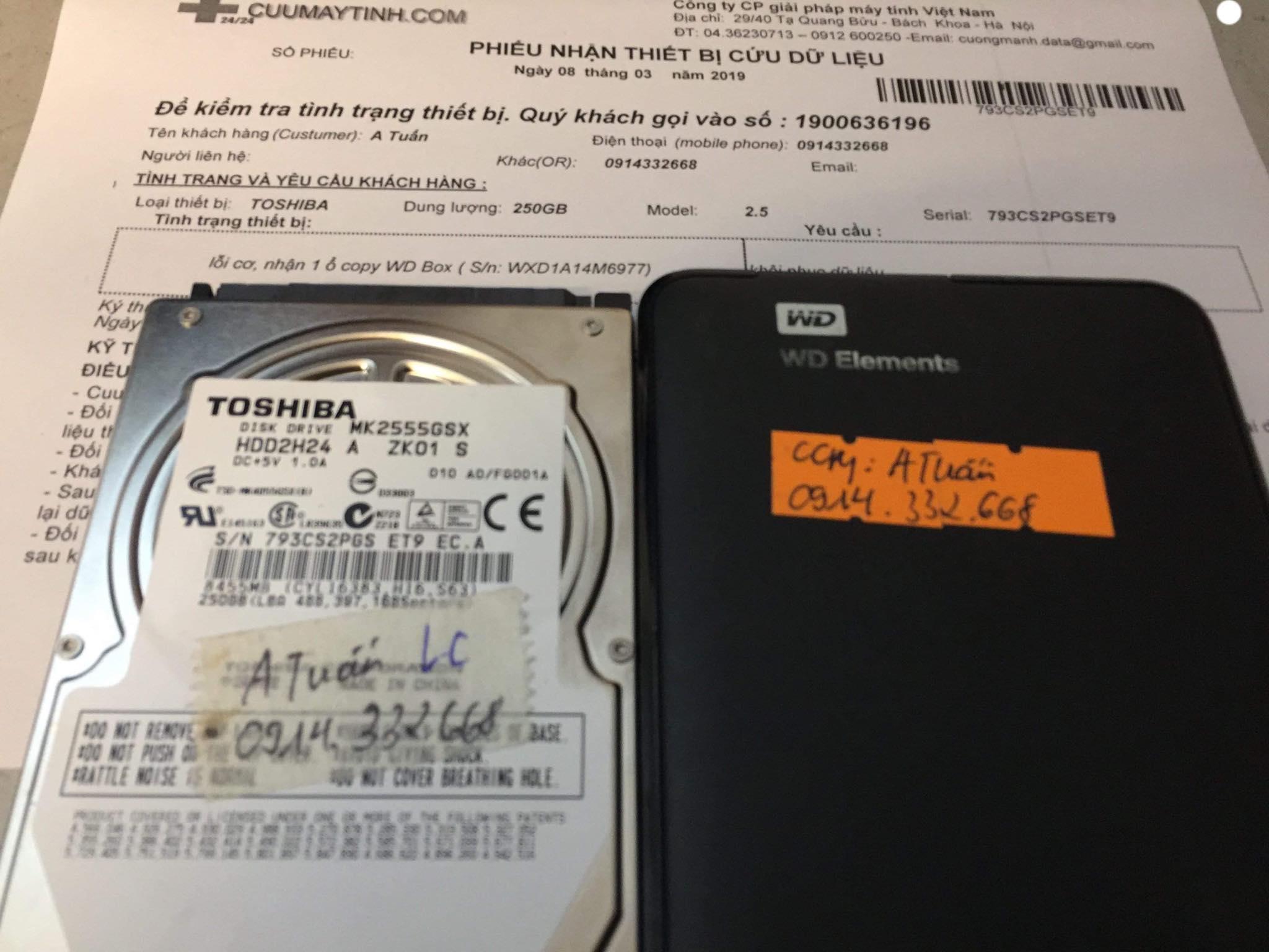Lấy dữ liệu ổ cứng Toshiba 250GB lỗi cơ 08/03/2019 - cuumaytinh