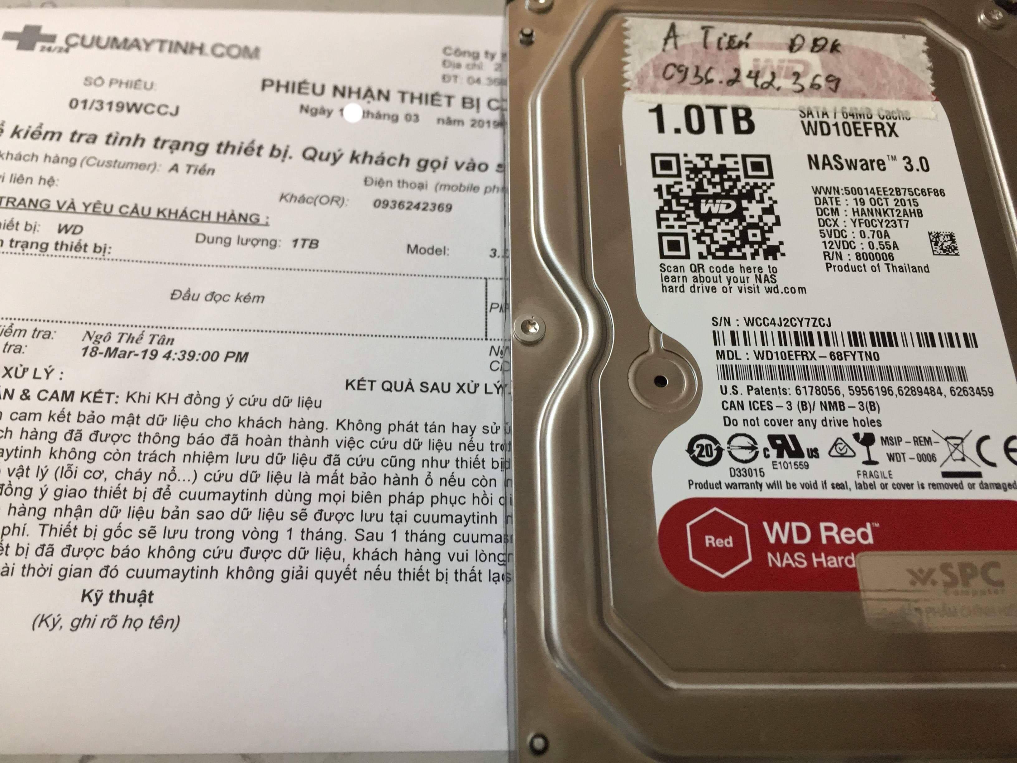 Lấy dữ liệu ổ cứng Western 1TB đầu đọc kém 19/03/2019 - cuumaytinh