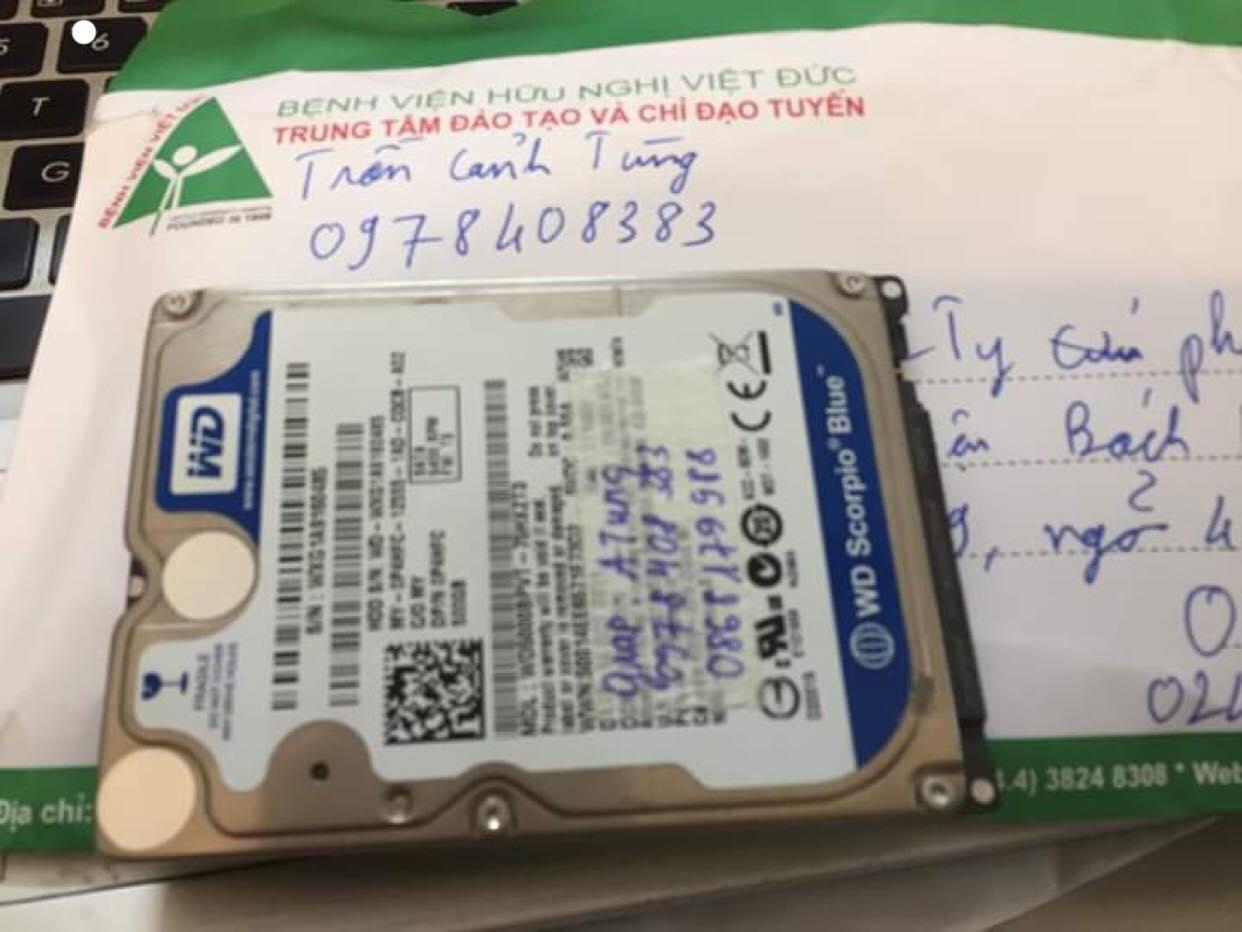 Lấy dữ liệu ổ cứng Western 500GB đầu đọc kém 28/02/2019 - cuumaytinh