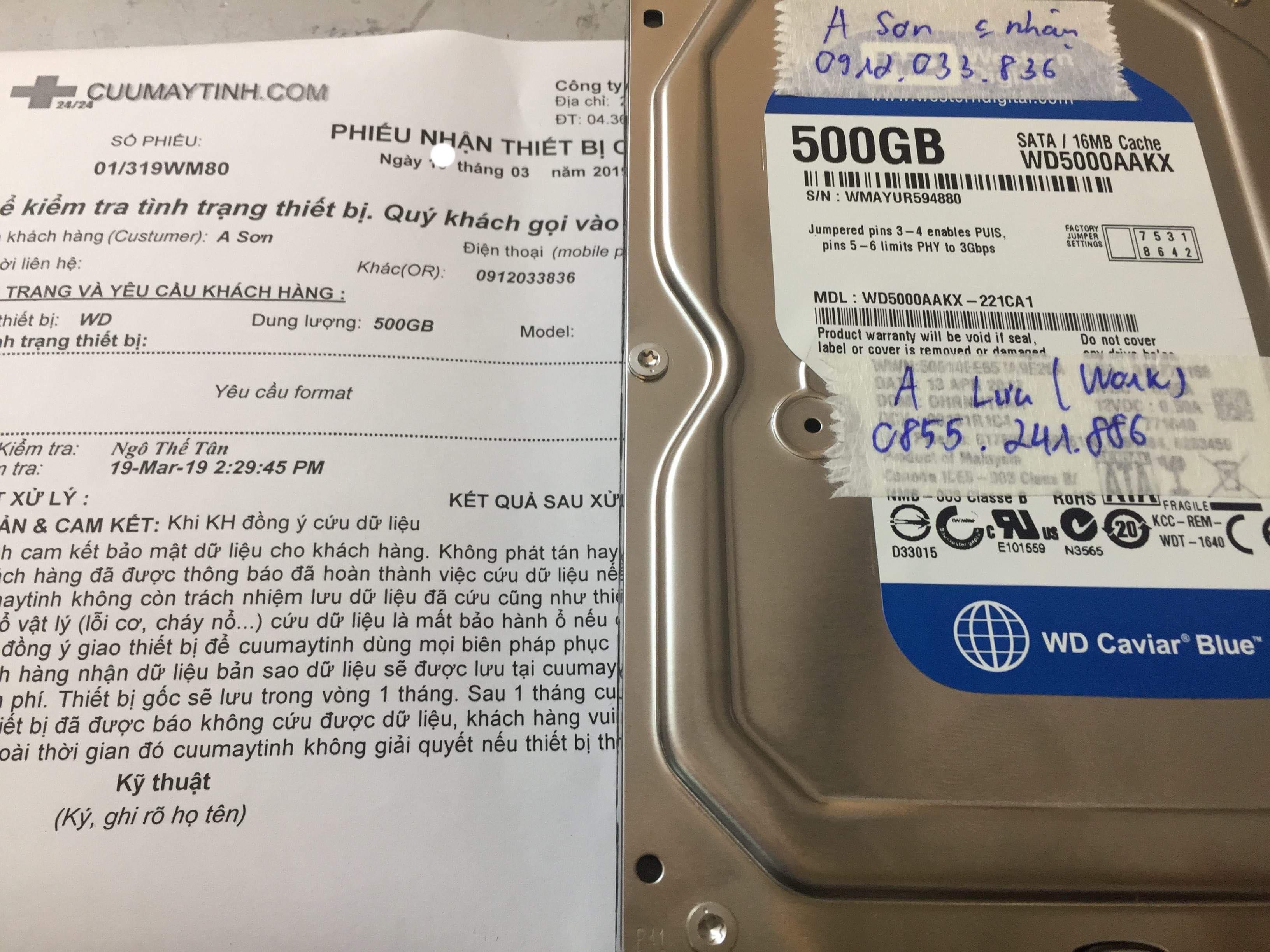 Lấy dữ liệu ổ cứng Western 500GB yêu cầu format tại Nam Định 27/03/2019 - cuumaytinh