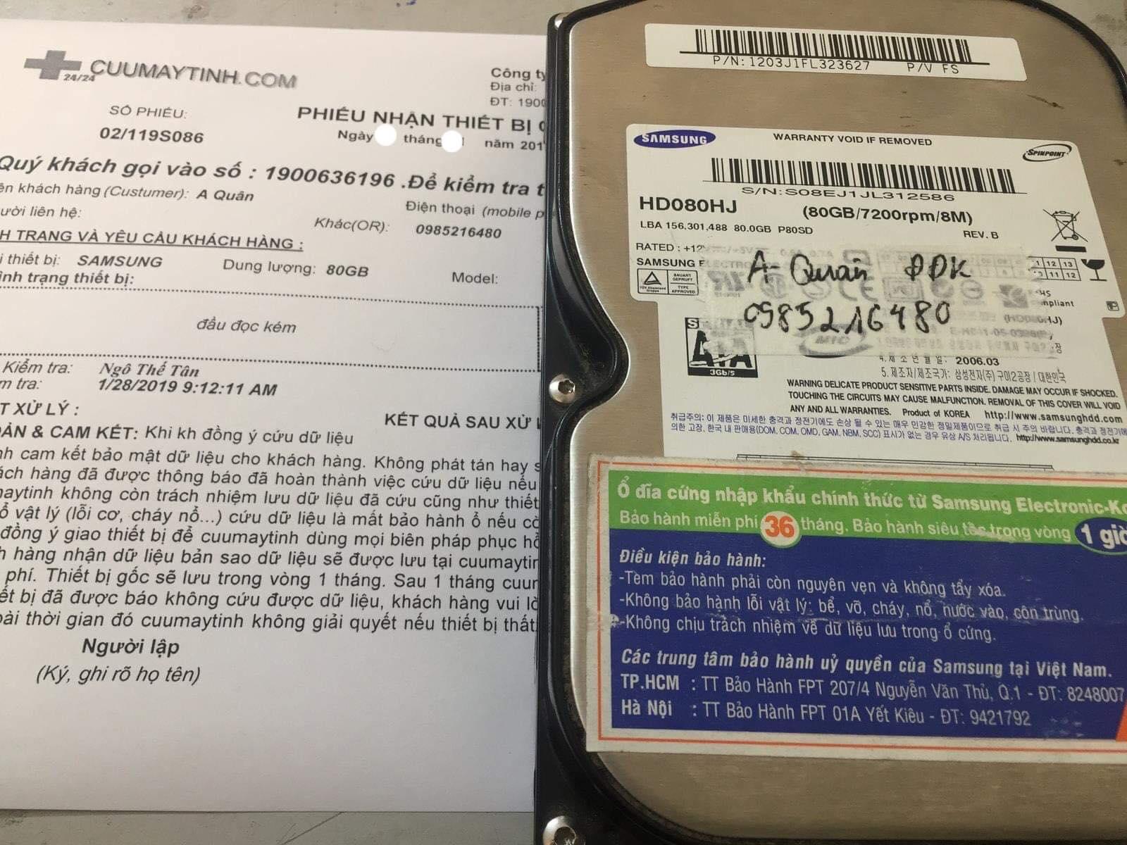 Phục hồi dữ liệu ổ cứng Samsung 80GB đầu đọc kém 27/02/2019 - cuumaytinh