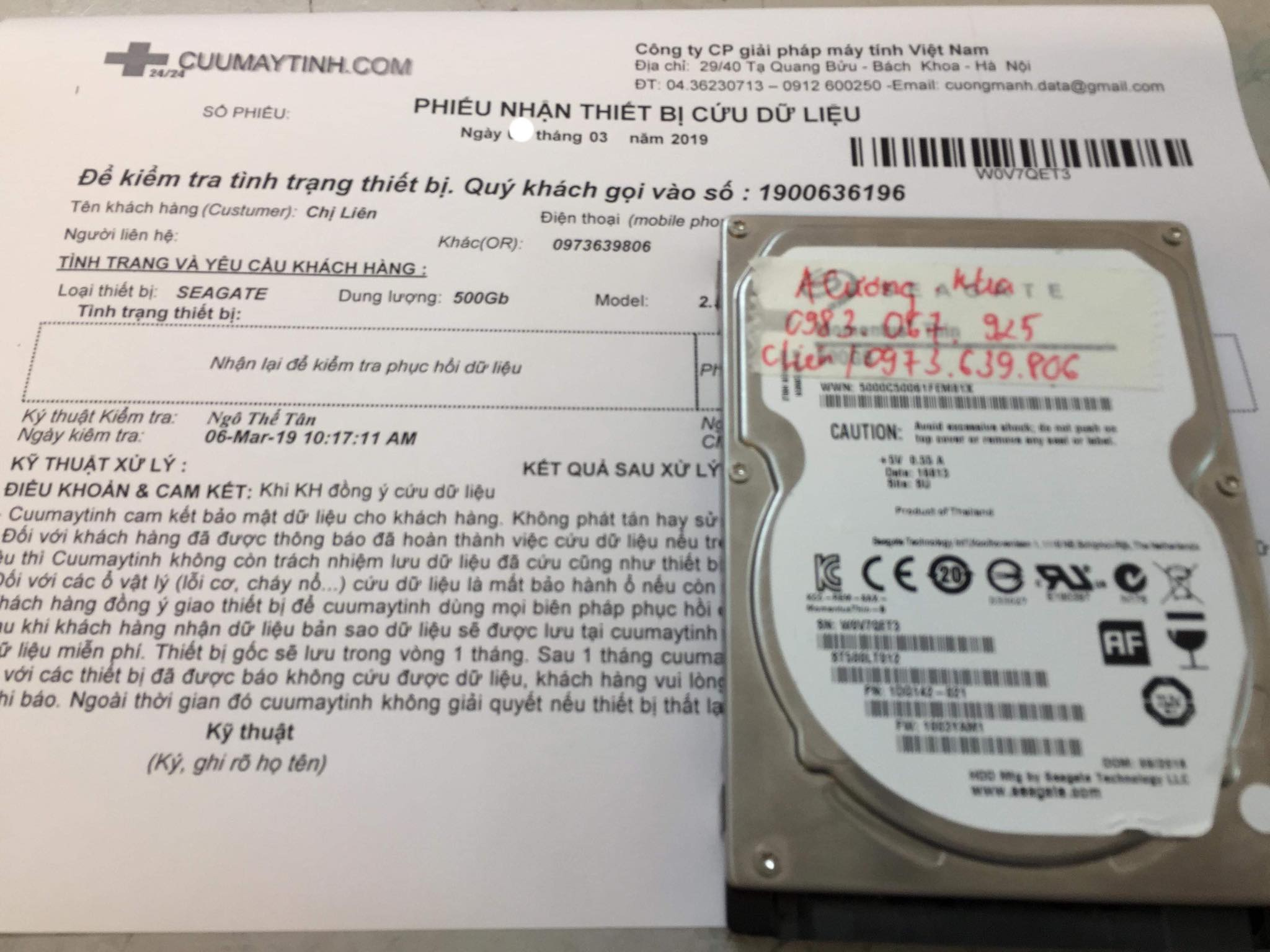 Phục hồi dữ liệu ổ cứng Seagate 500GB đầu đọc kém 08/03/2019 - cuumaytinh